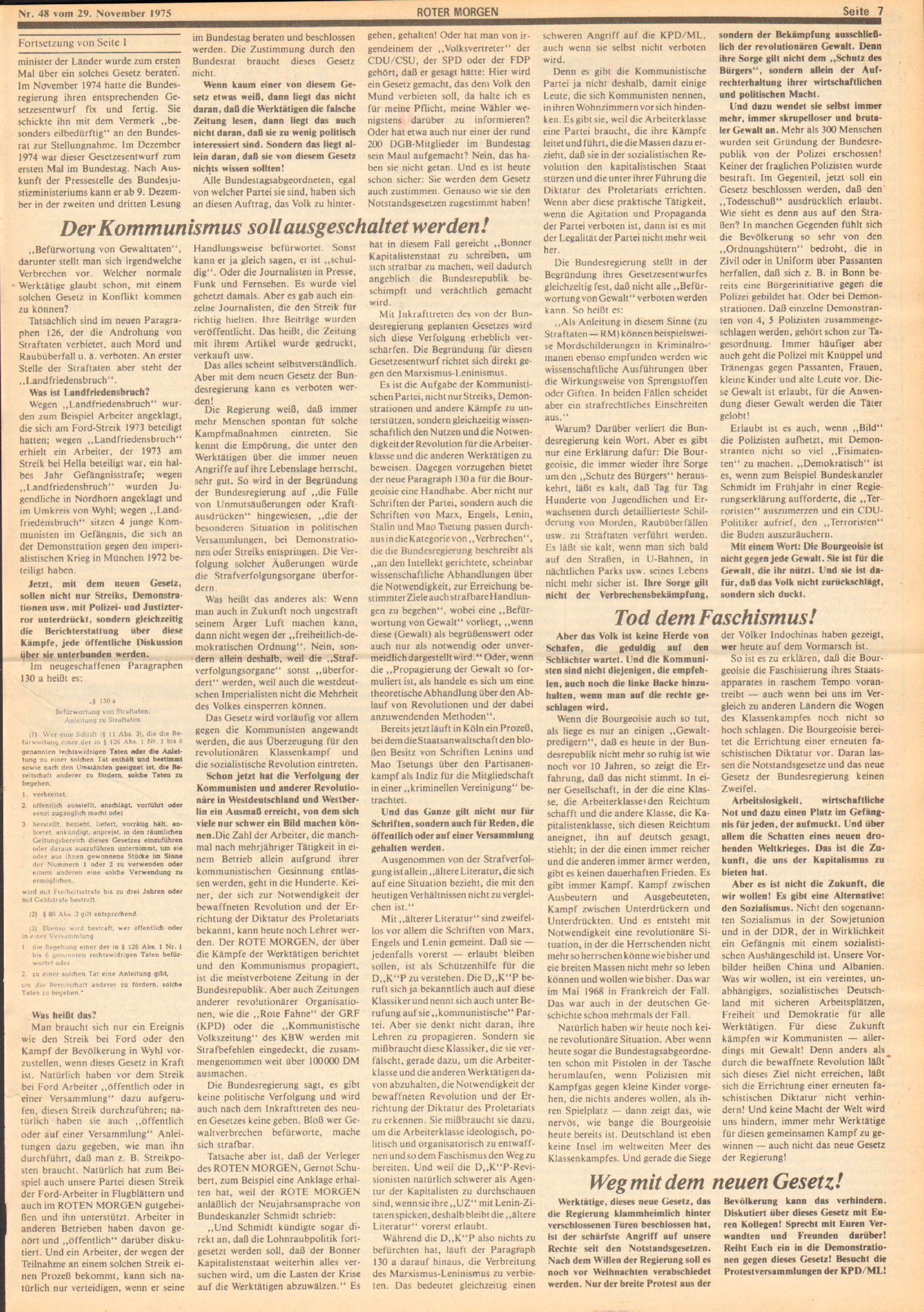 Roter Morgen, 9. Jg., 29. November 1975, Nr. 48, Seite 7