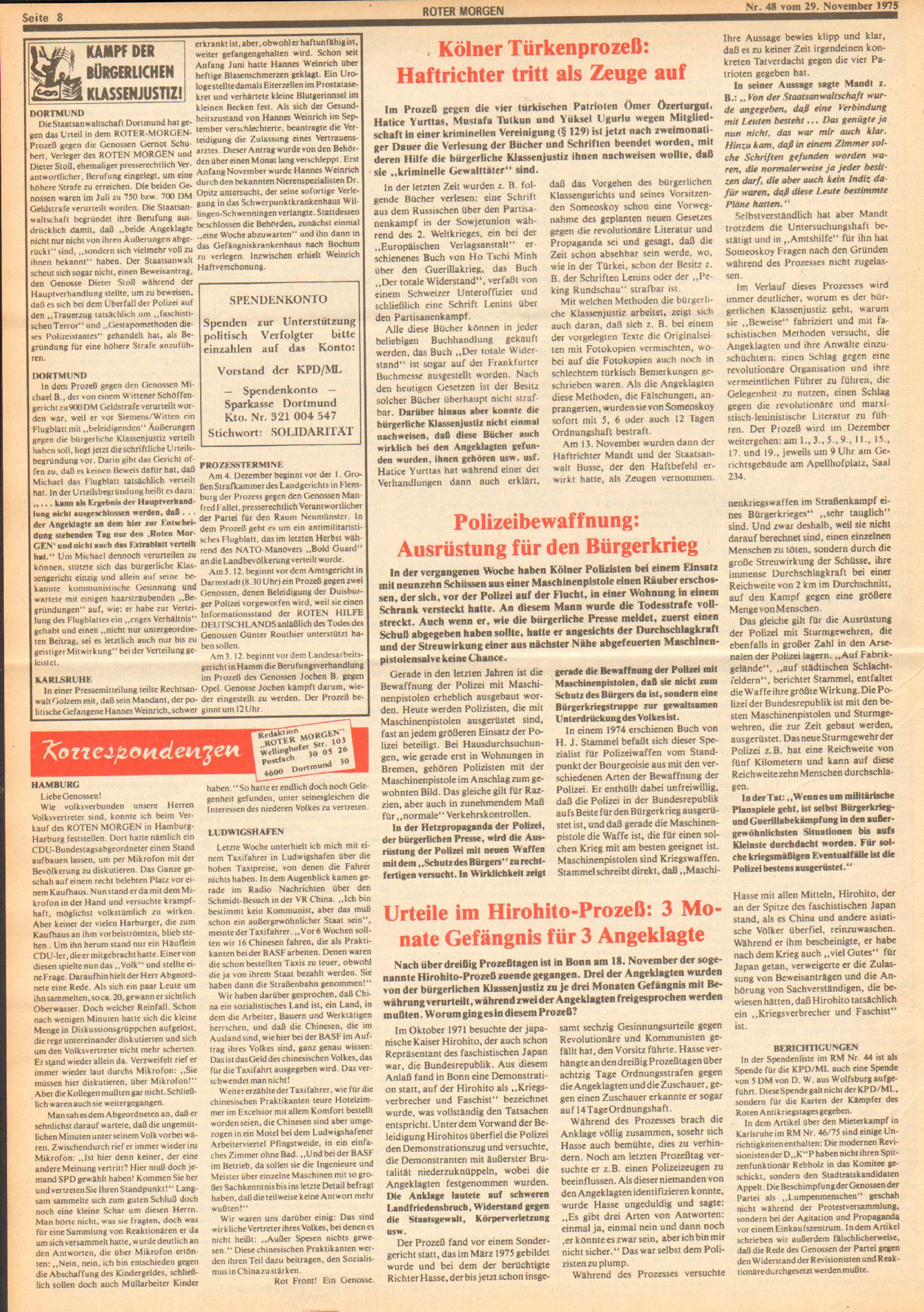Roter Morgen, 9. Jg., 29. November 1975, Nr. 48, Seite 8