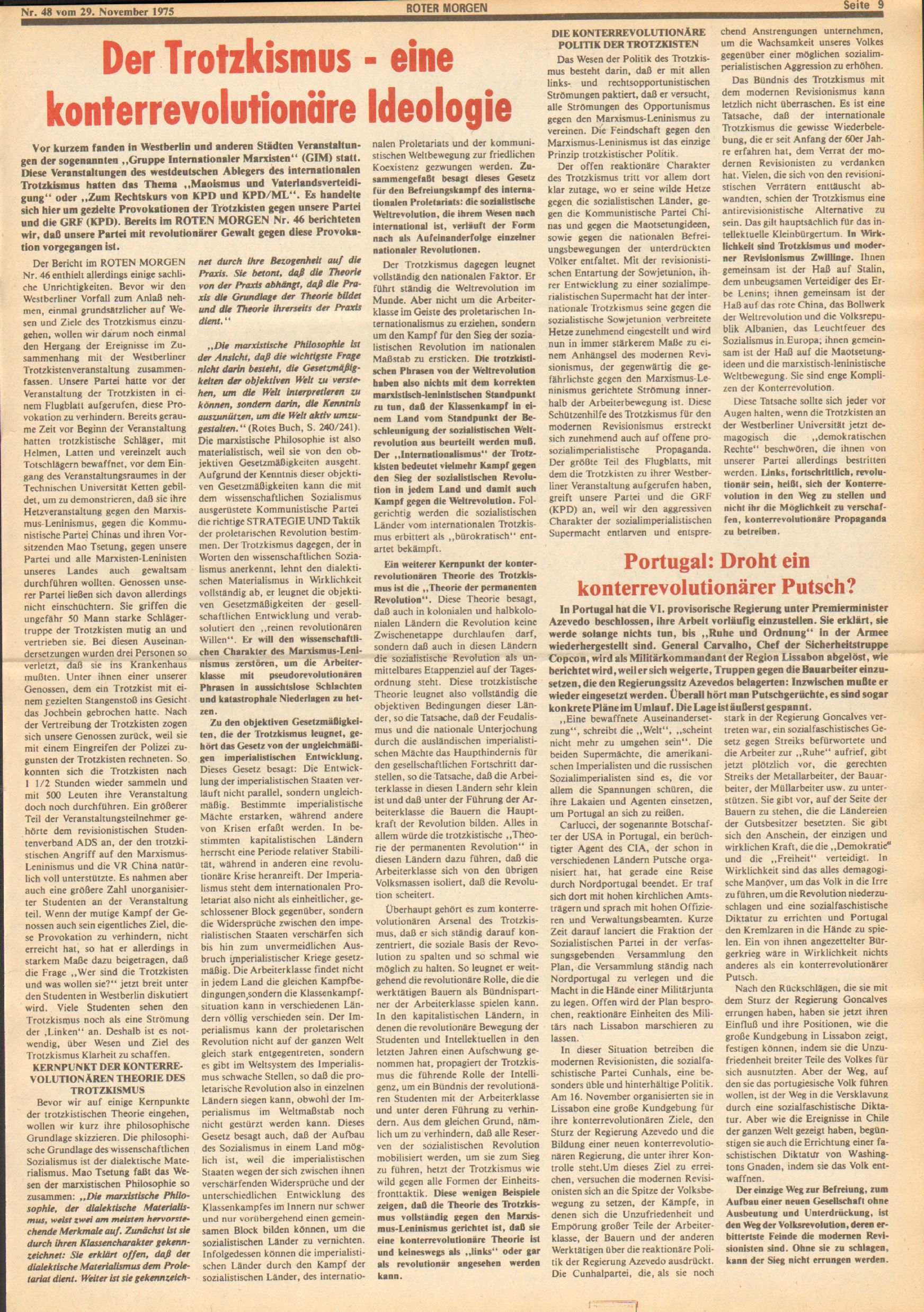 Roter Morgen, 9. Jg., 29. November 1975, Nr. 48, Seite 9