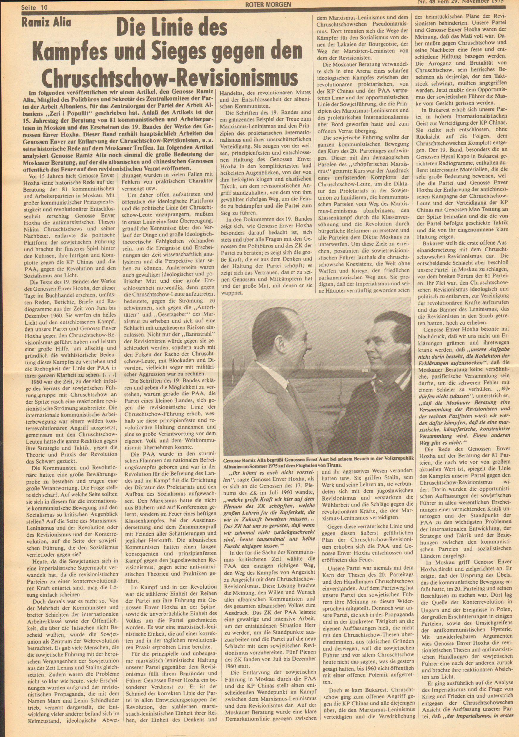 Roter Morgen, 9. Jg., 29. November 1975, Nr. 48, Seite 10