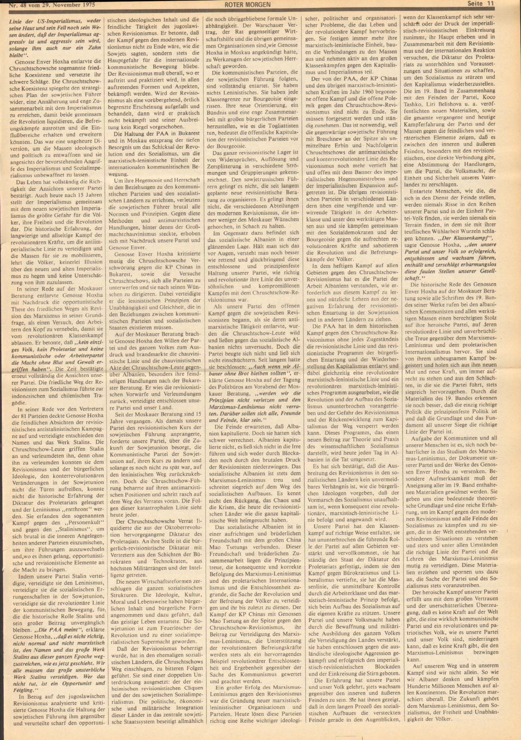 Roter Morgen, 9. Jg., 29. November 1975, Nr. 48, Seite 11
