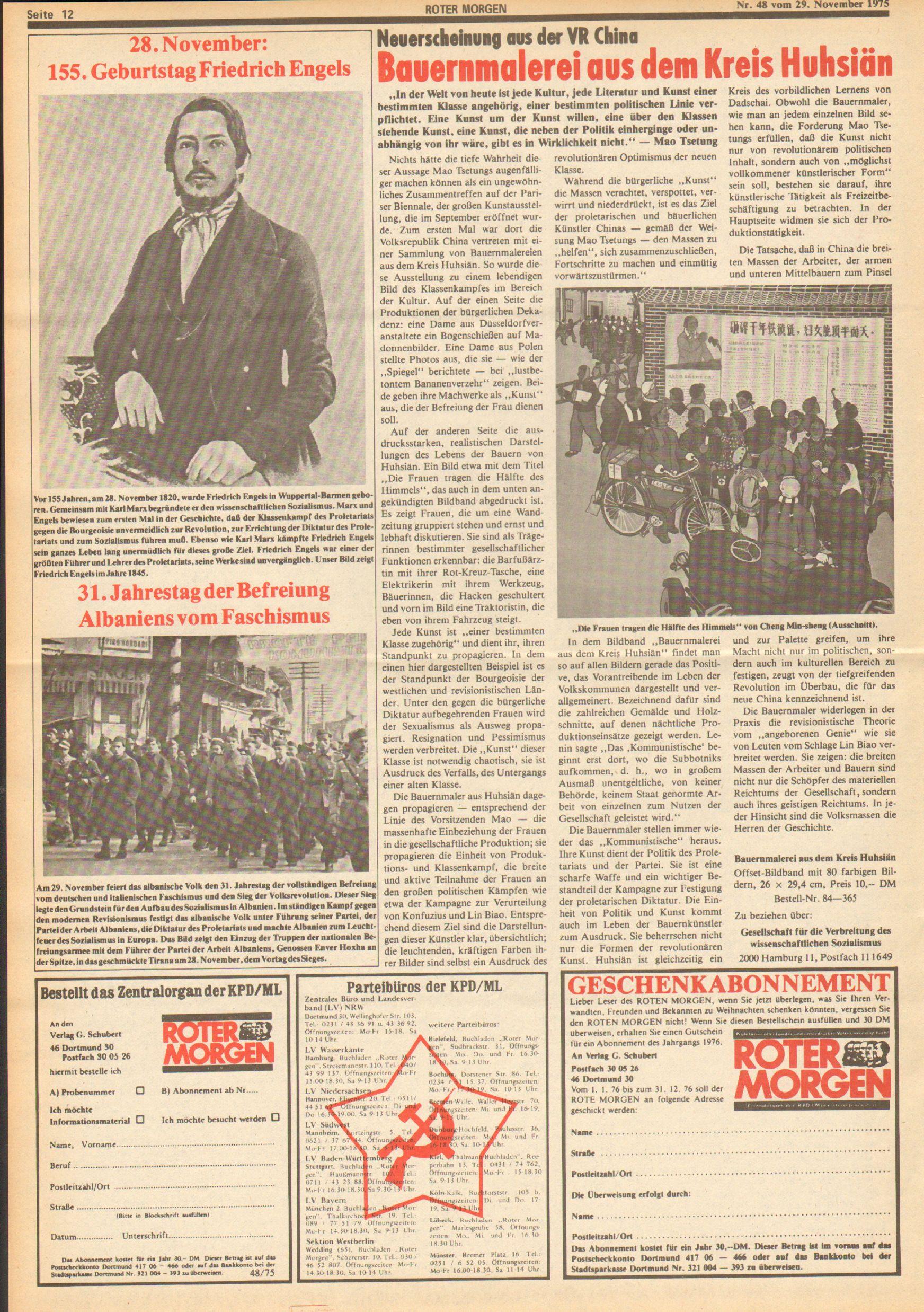 Roter Morgen, 9. Jg., 29. November 1975, Nr. 48, Seite 12