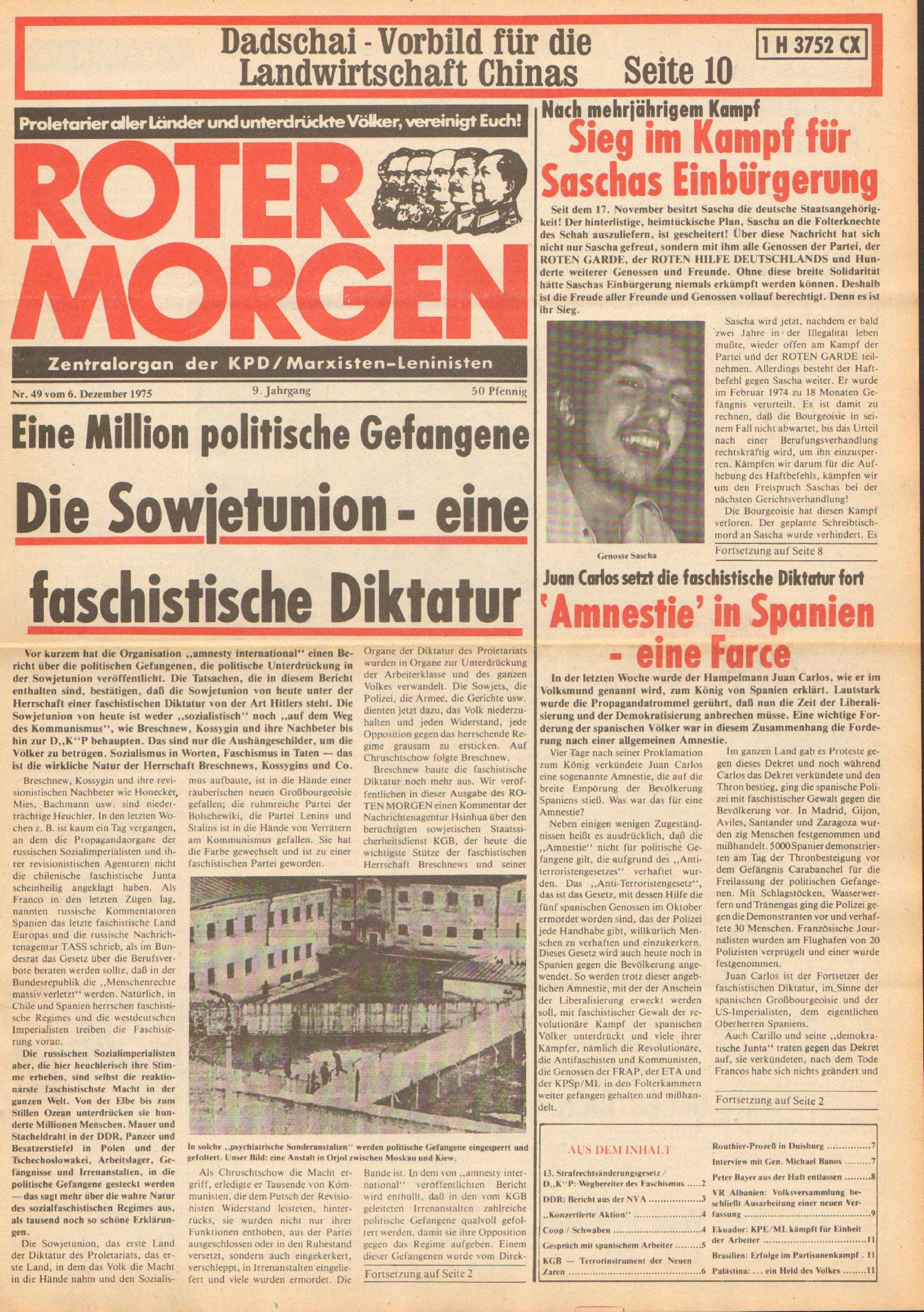Roter Morgen, 9. Jg., 6. Dezember 1975, Nr. 49, Seite 1
