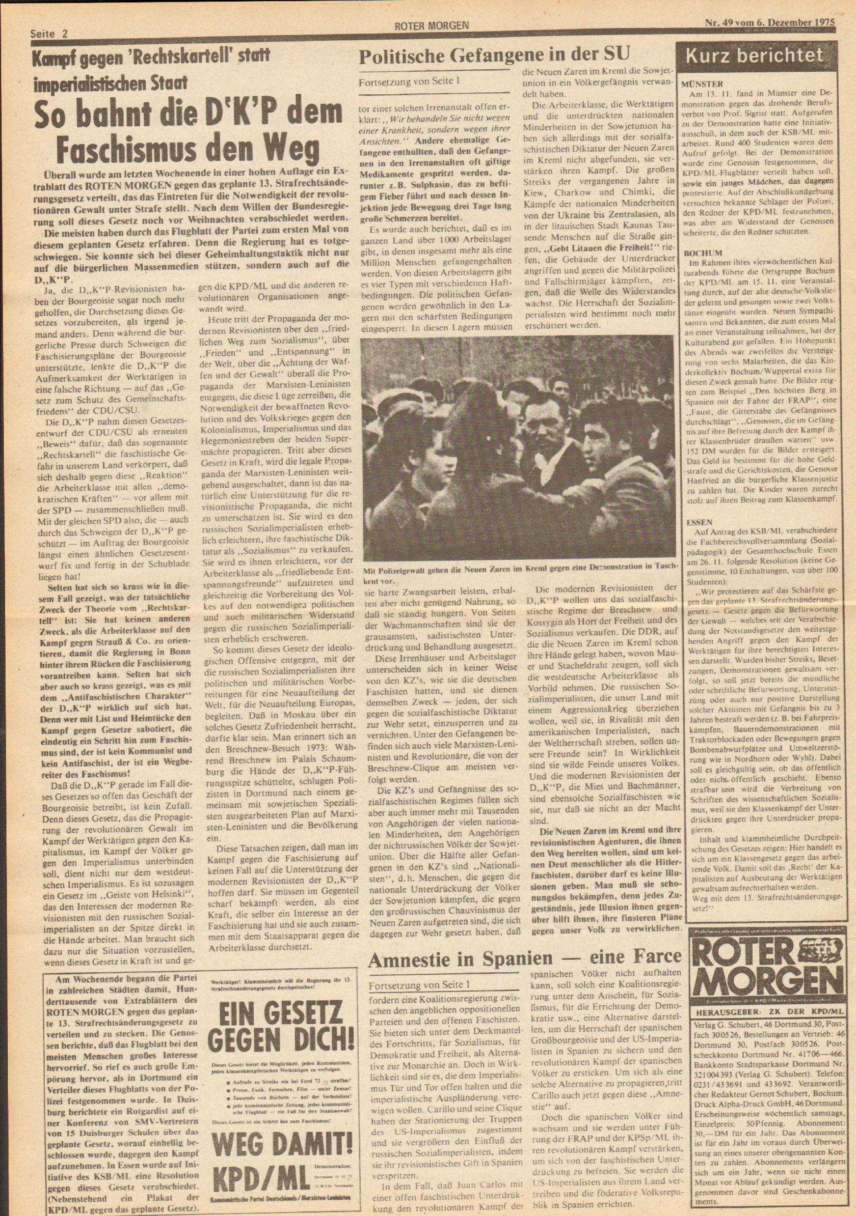 Roter Morgen, 9. Jg., 6. Dezember 1975, Nr. 49, Seite 2