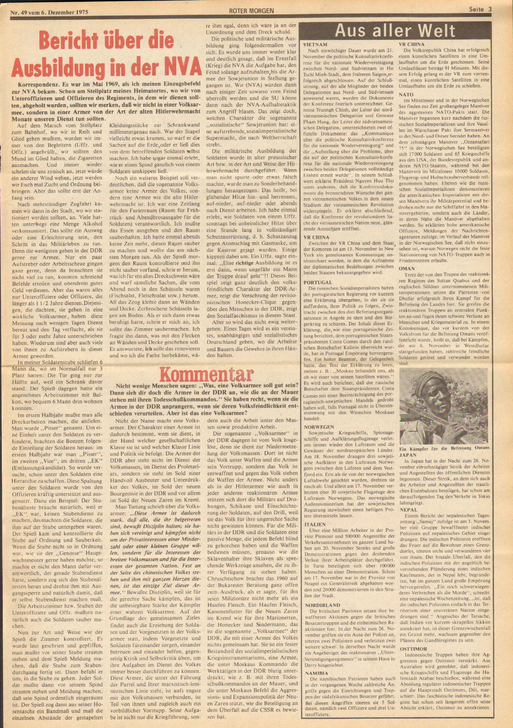 Roter Morgen, 9. Jg., 6. Dezember 1975, Nr. 49, Seite 3