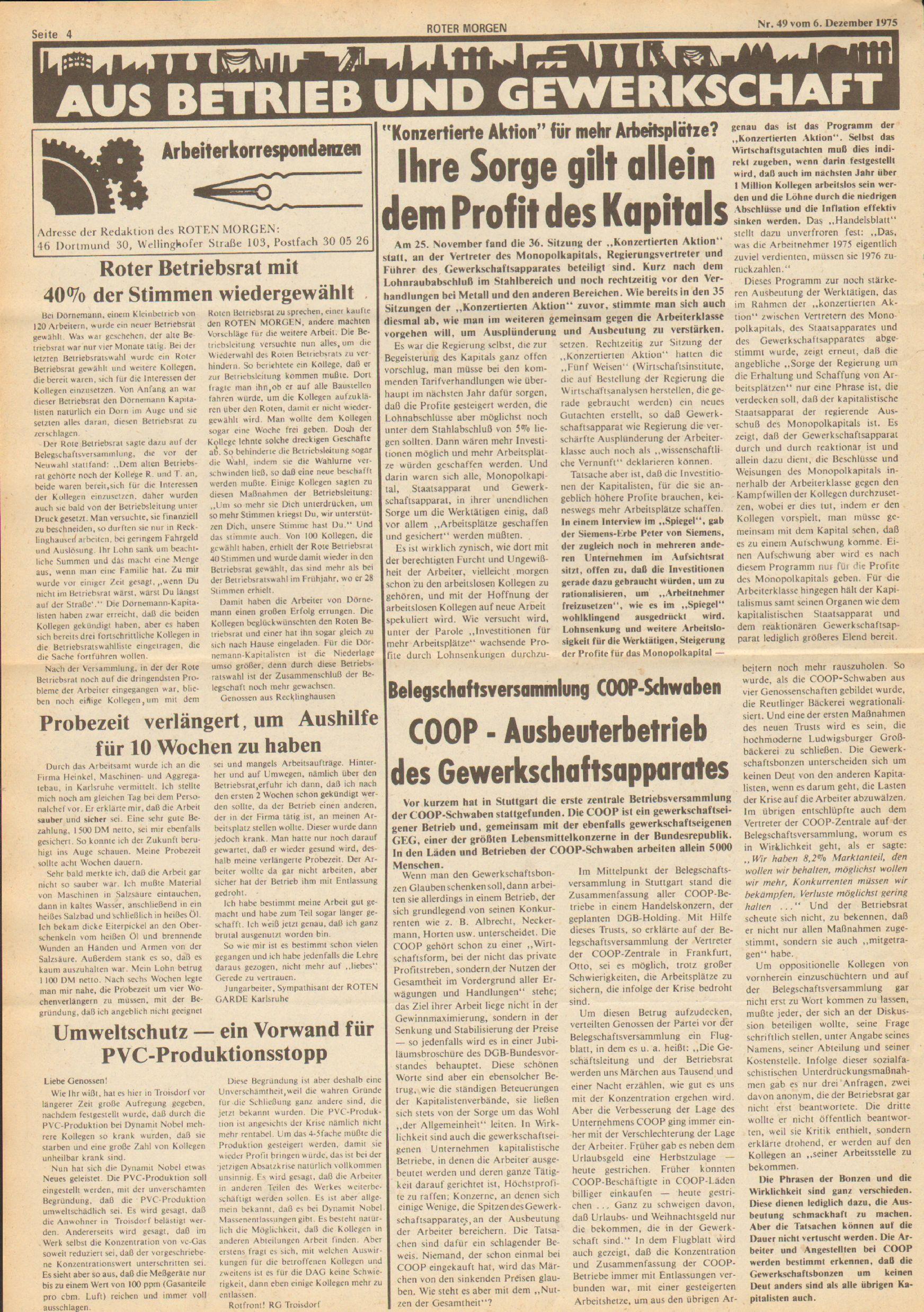 Roter Morgen, 9. Jg., 6. Dezember 1975, Nr. 49, Seite 4