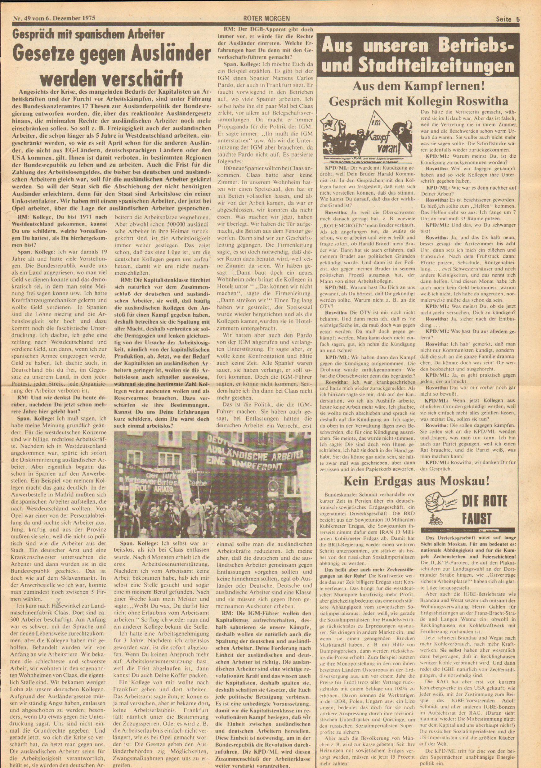 Roter Morgen, 9. Jg., 6. Dezember 1975, Nr. 49, Seite 5
