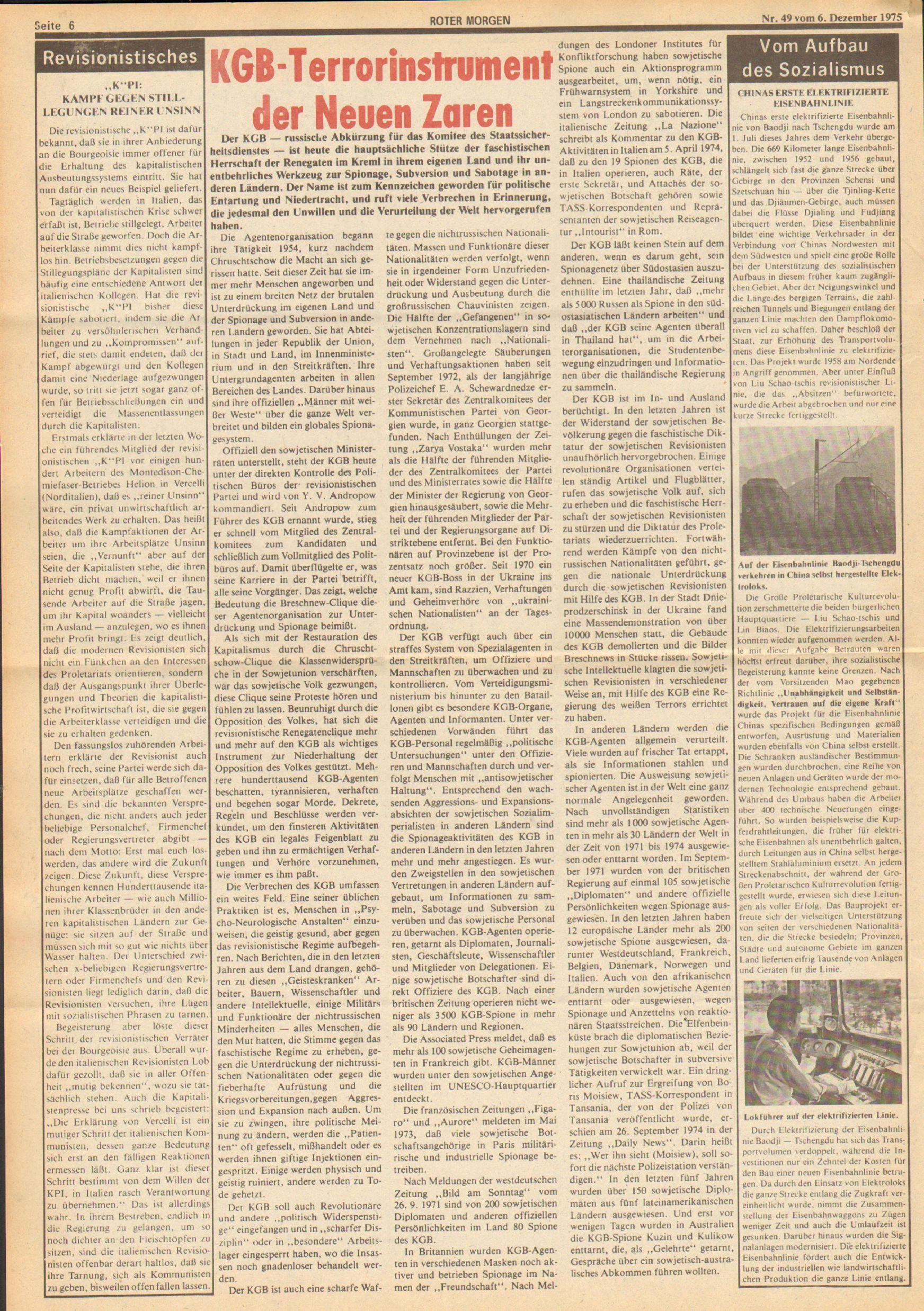 Roter Morgen, 9. Jg., 6. Dezember 1975, Nr. 49, Seite 6