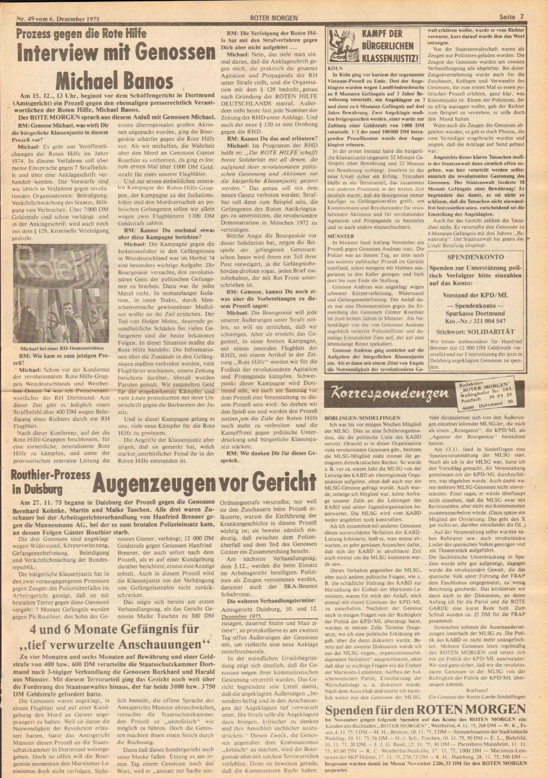 Roter Morgen, 9. Jg., 6. Dezember 1975, Nr. 49, Seite 7