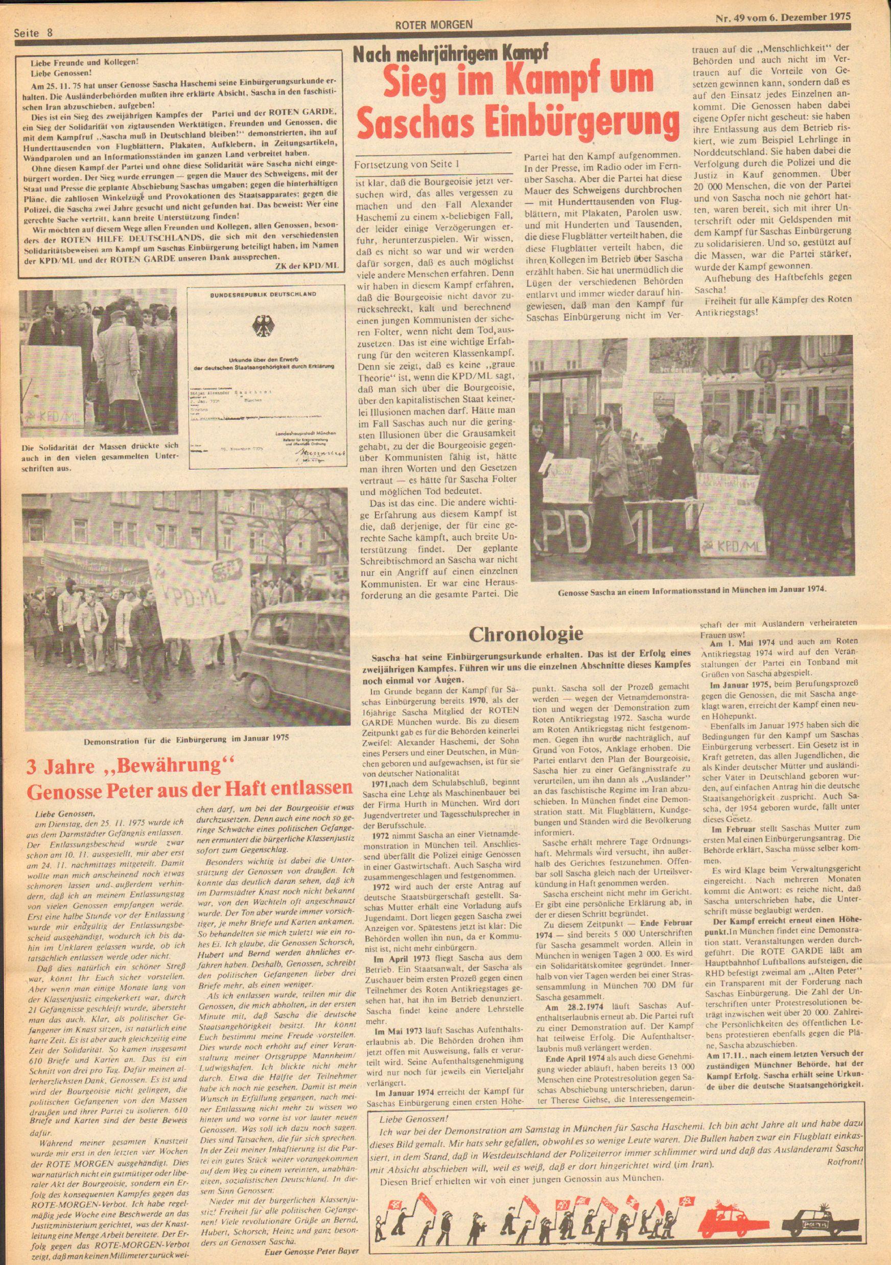 Roter Morgen, 9. Jg., 6. Dezember 1975, Nr. 49, Seite 8