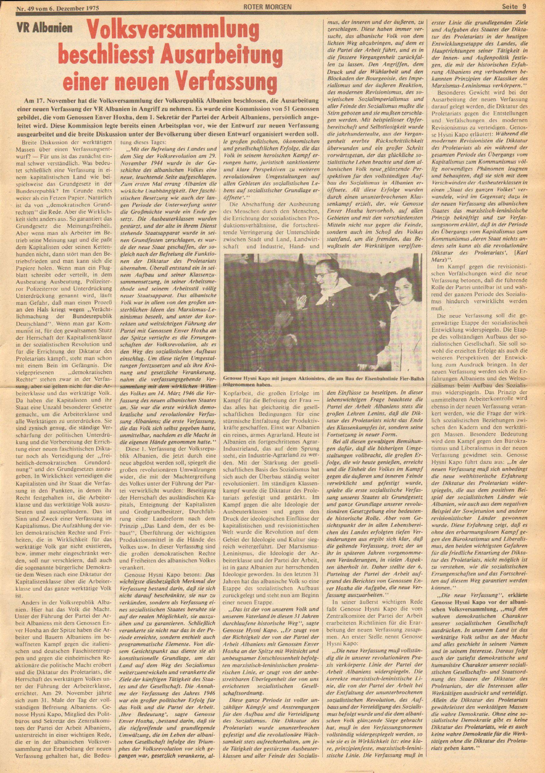 Roter Morgen, 9. Jg., 6. Dezember 1975, Nr. 49, Seite 9
