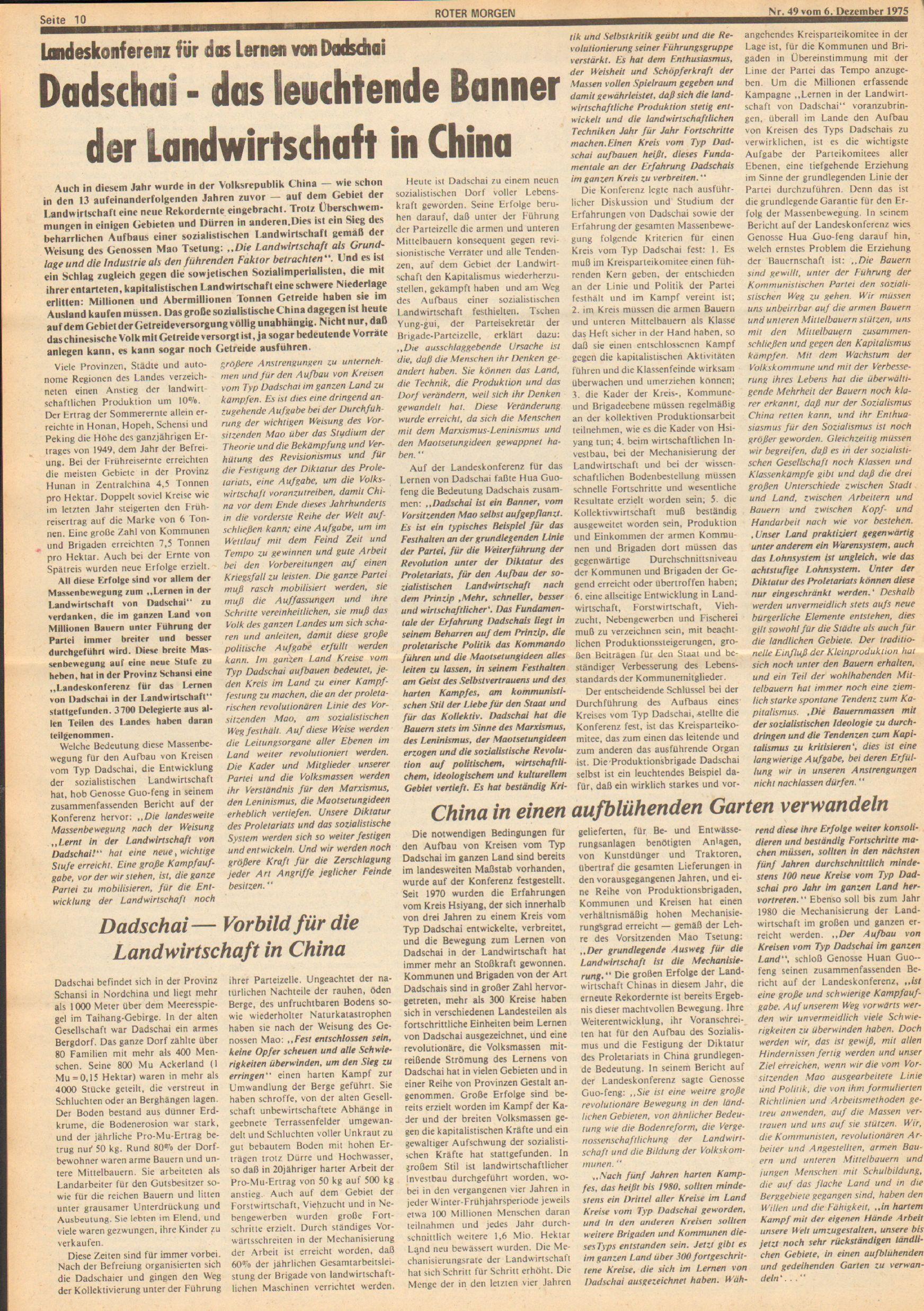 Roter Morgen, 9. Jg., 6. Dezember 1975, Nr. 49, Seite 10