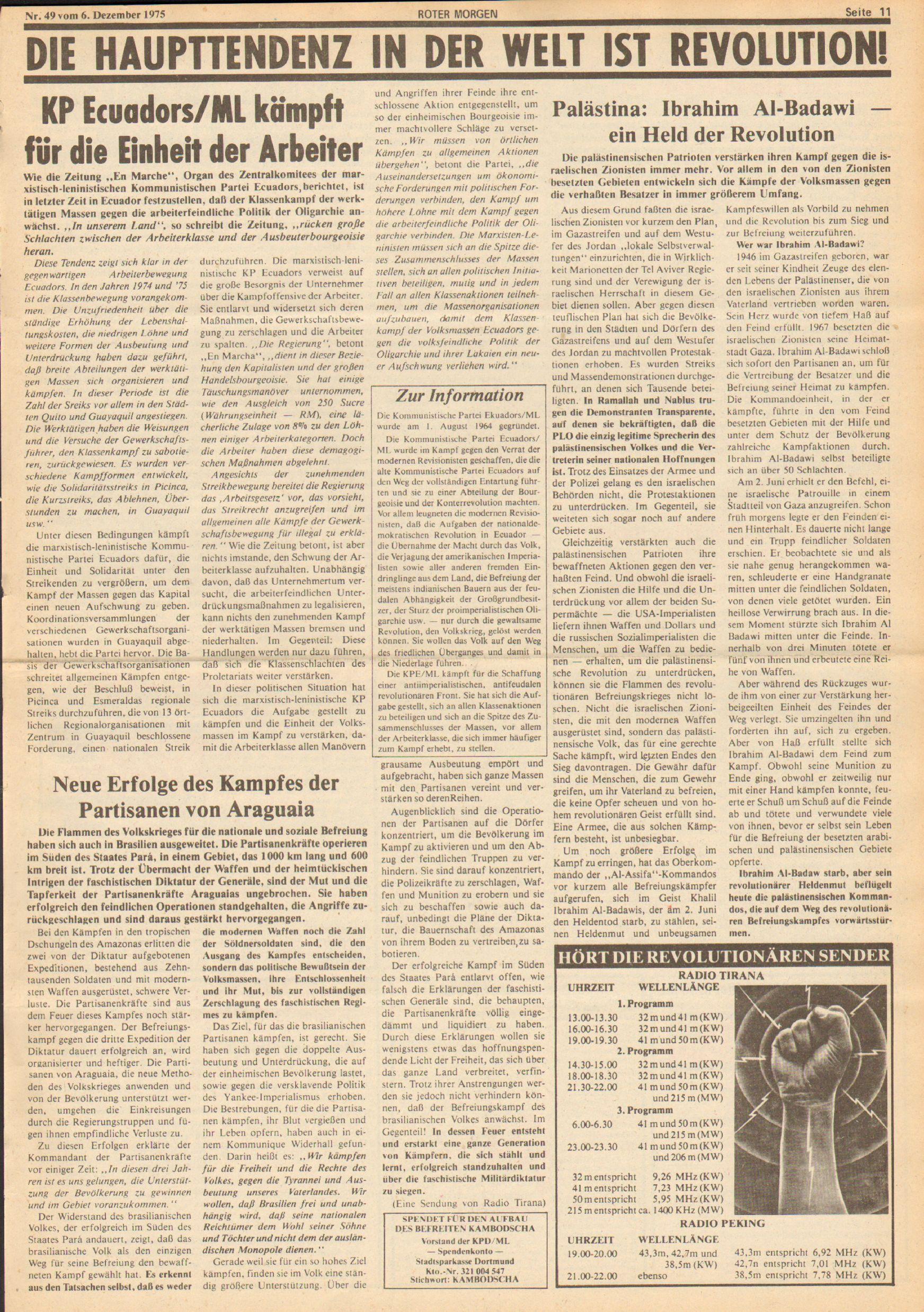 Roter Morgen, 9. Jg., 6. Dezember 1975, Nr. 49, Seite 11