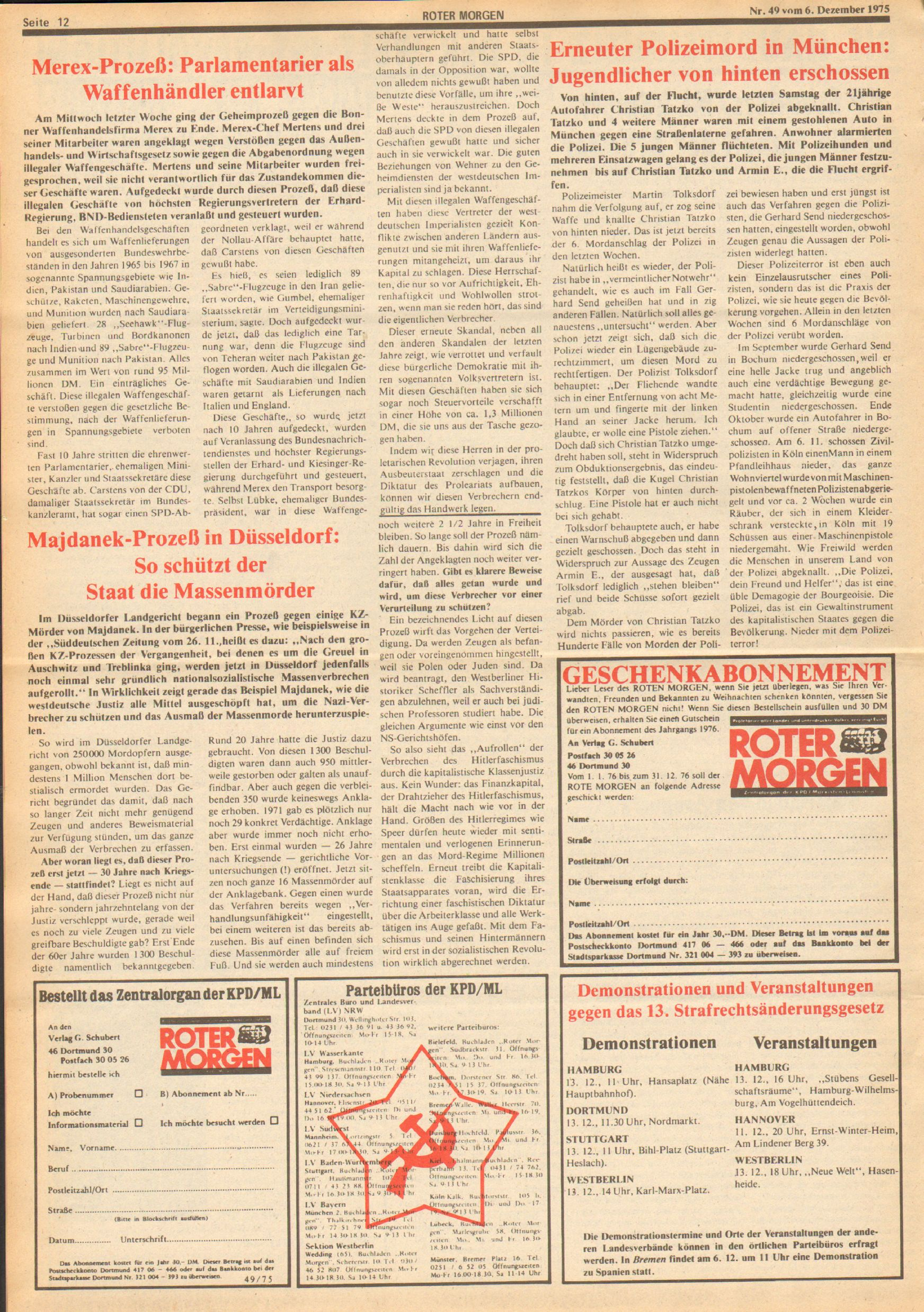 Roter Morgen, 9. Jg., 6. Dezember 1975, Nr. 49, Seite 12