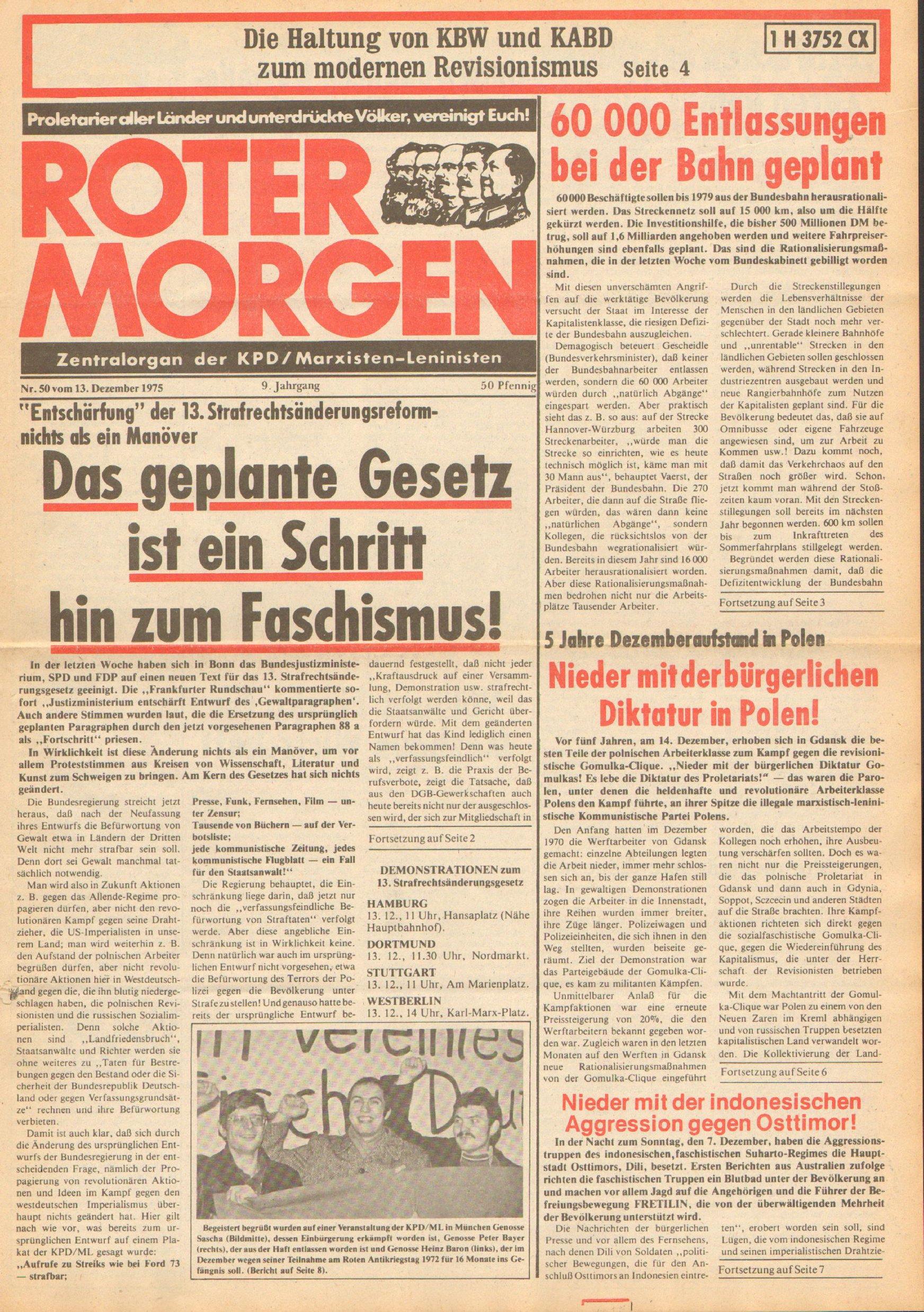 Roter Morgen, 9. Jg., 13. Dezember 1975, Nr. 50, Seite 1