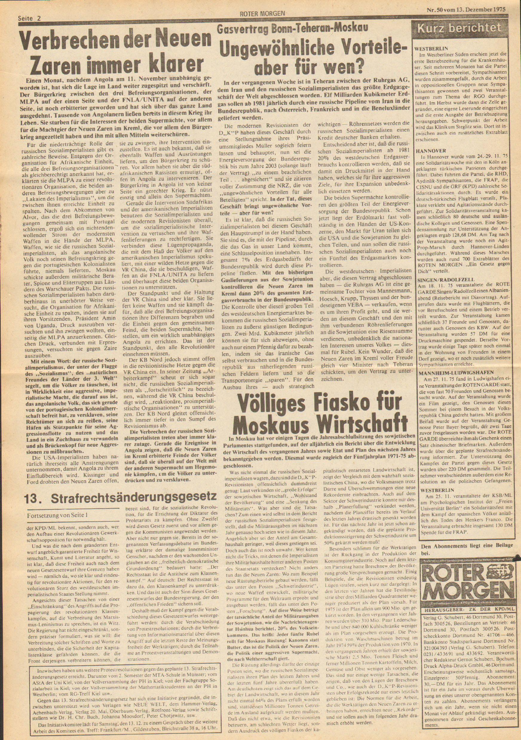 Roter Morgen, 9. Jg., 13. Dezember 1975, Nr. 50, Seite 2