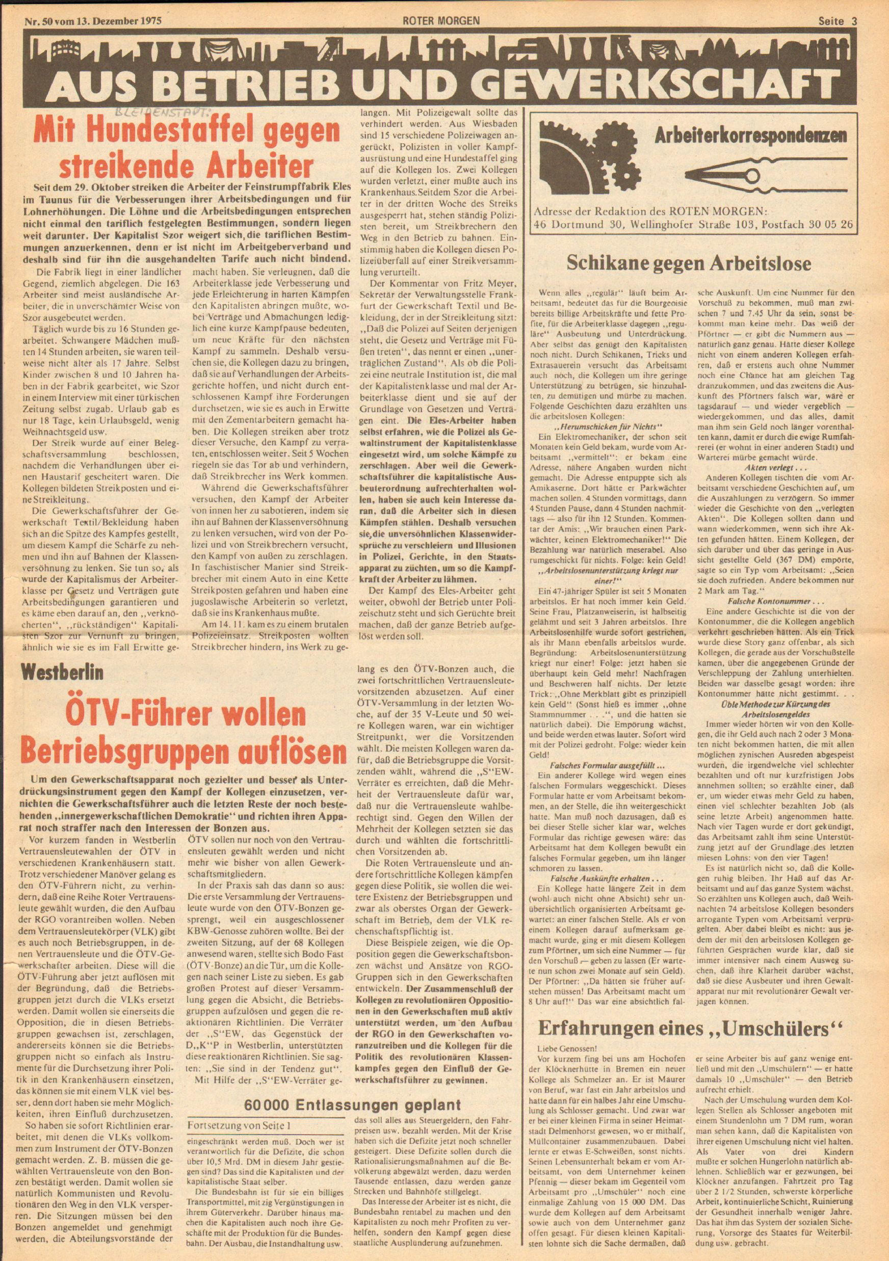 Roter Morgen, 9. Jg., 13. Dezember 1975, Nr. 50, Seite 3