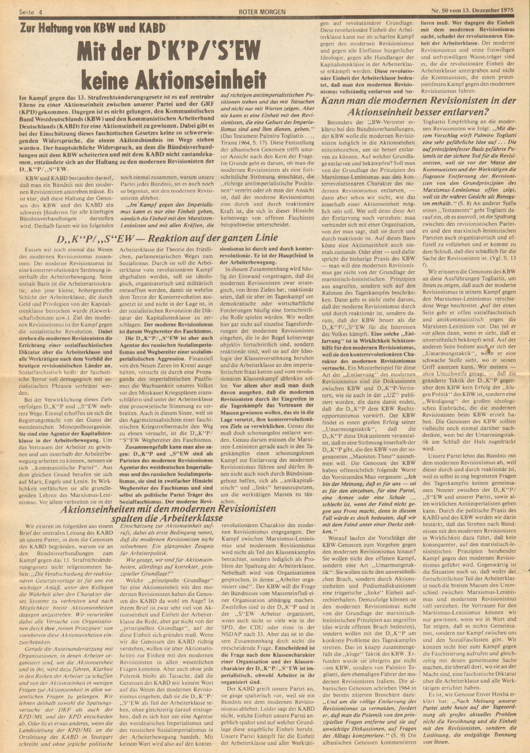Roter Morgen, 9. Jg., 13. Dezember 1975, Nr. 50, Seite 4