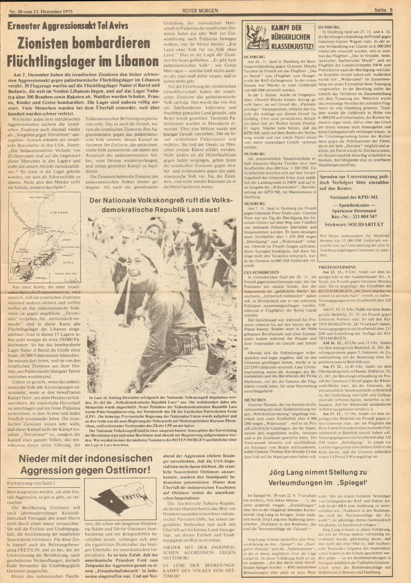 Roter Morgen, 9. Jg., 13. Dezember 1975, Nr. 50, Seite 5