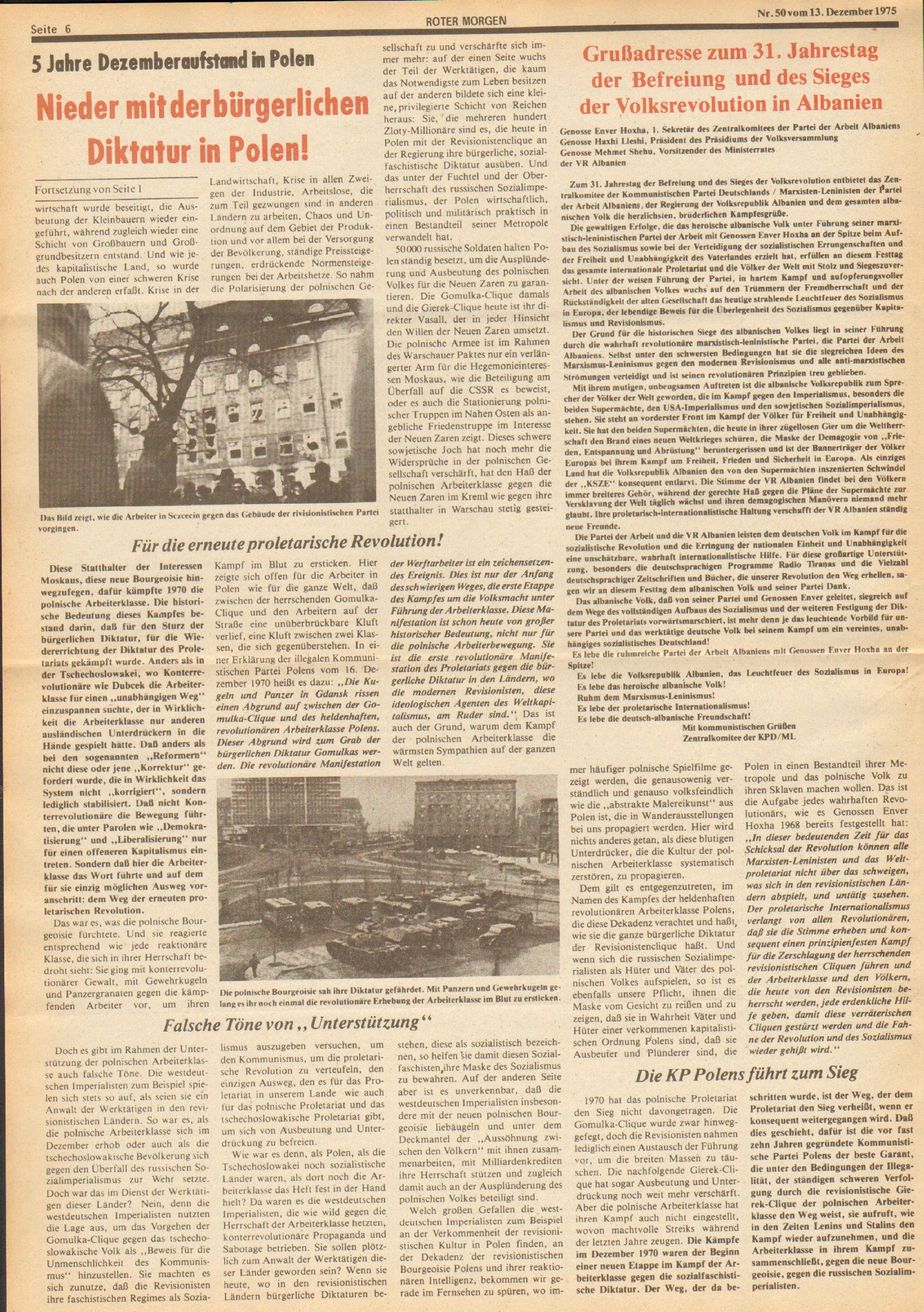 Roter Morgen, 9. Jg., 13. Dezember 1975, Nr. 50, Seite 6