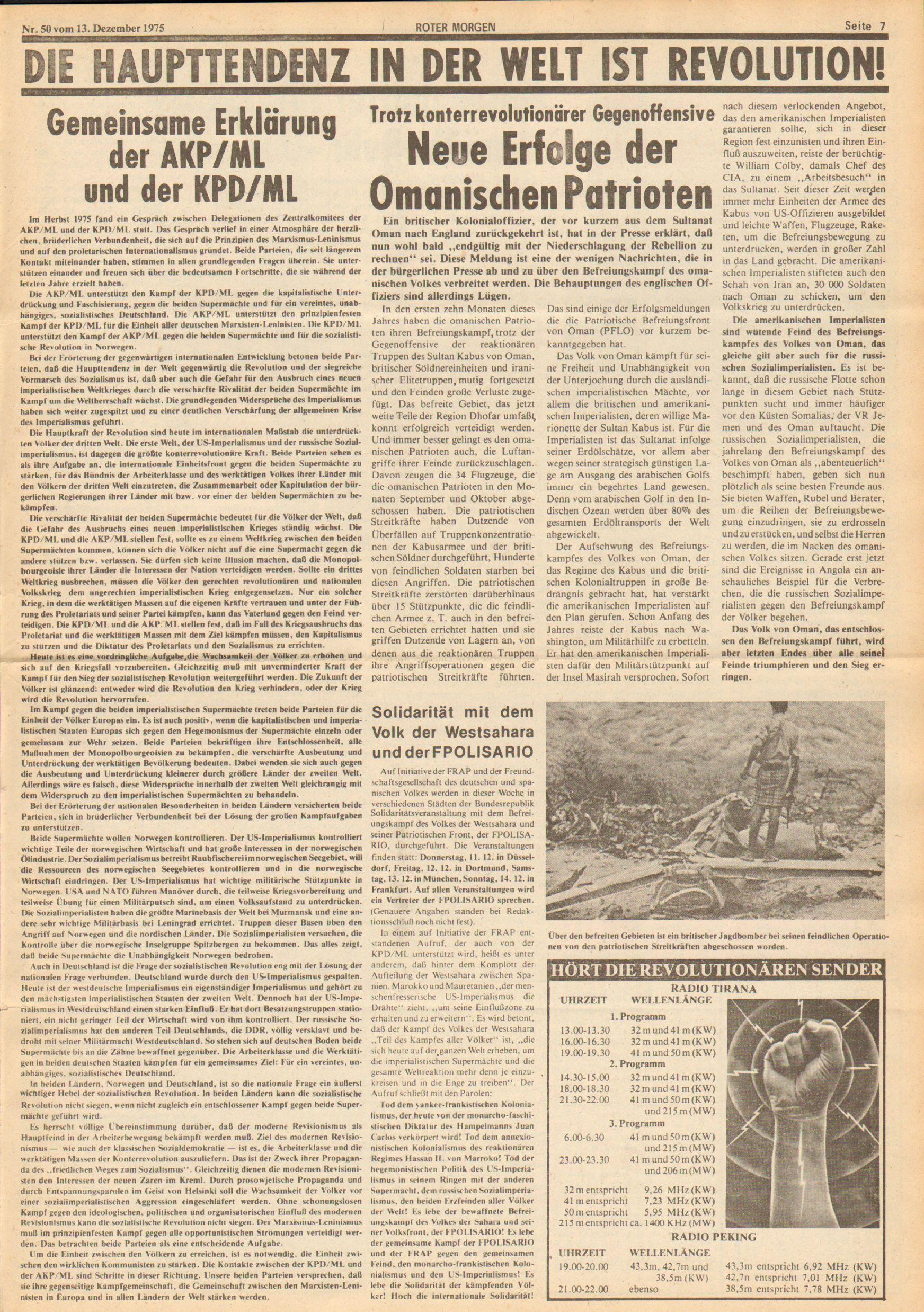 Roter Morgen, 9. Jg., 13. Dezember 1975, Nr. 50, Seite 7