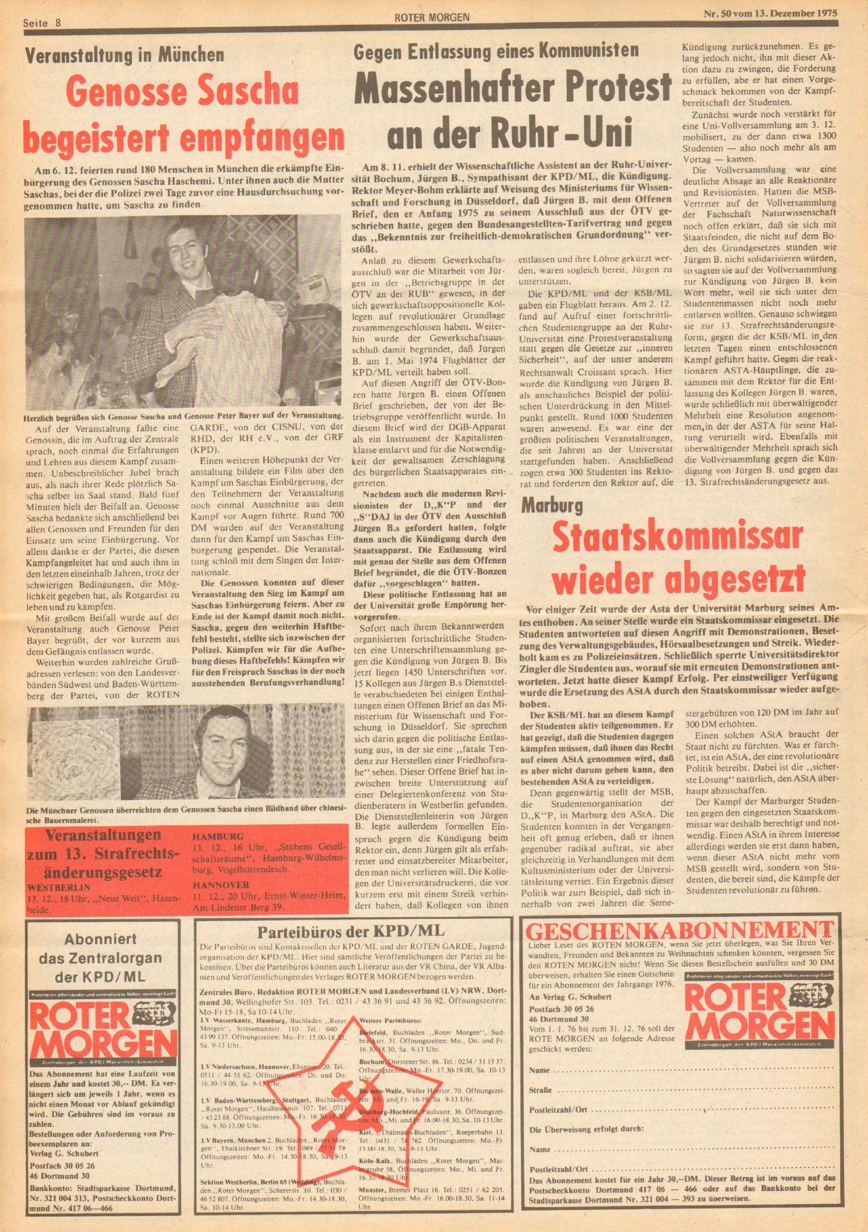 Roter Morgen, 9. Jg., 13. Dezember 1975, Nr. 50, Seite 8