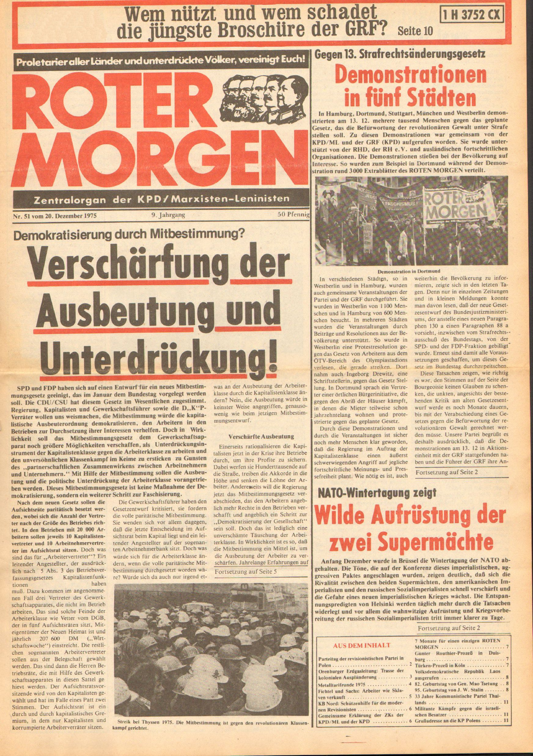Roter Morgen, 9. Jg., 20. Dezember 1975, Nr. 51, Seite 1