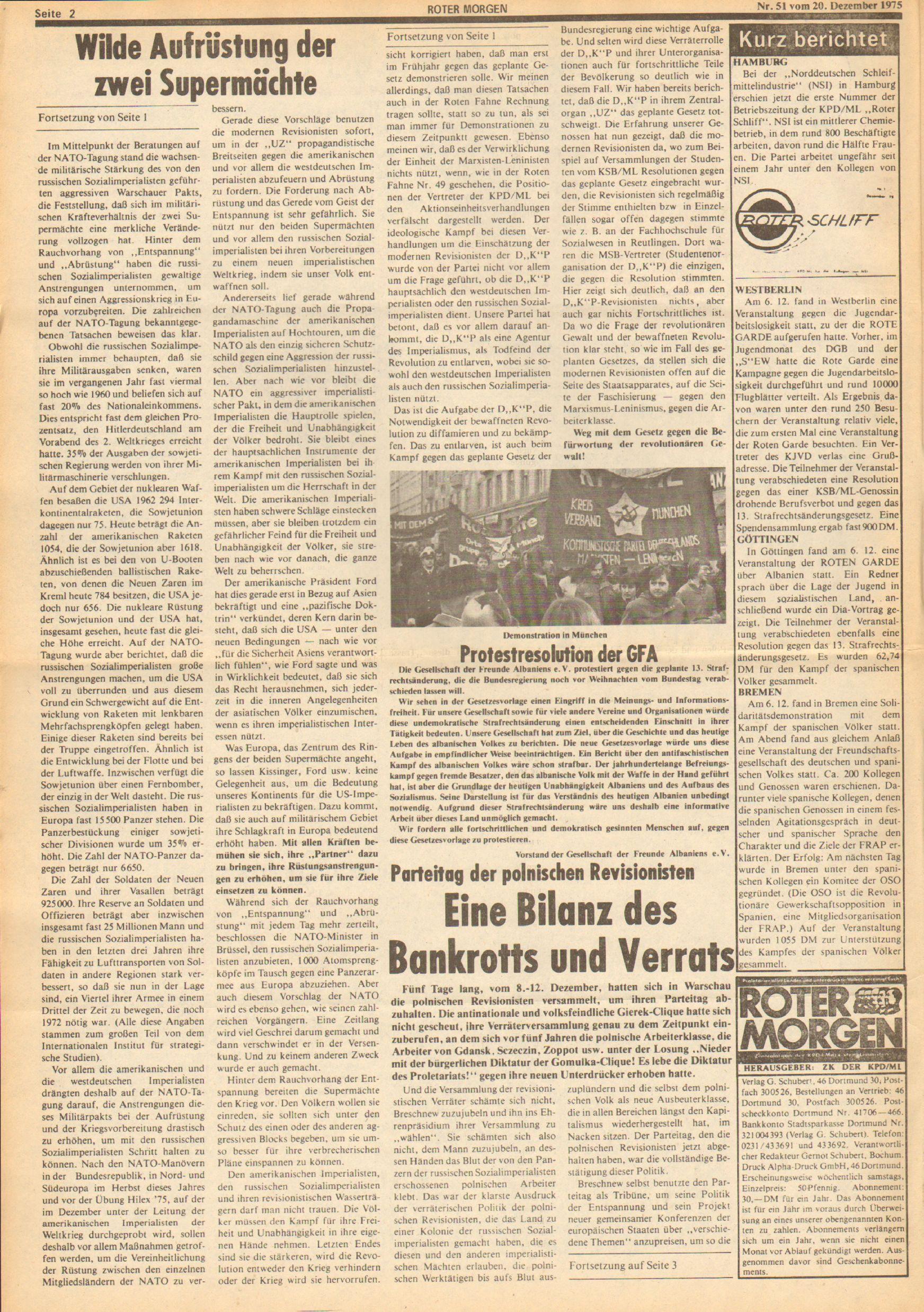Roter Morgen, 9. Jg., 20. Dezember 1975, Nr. 51, Seite 2