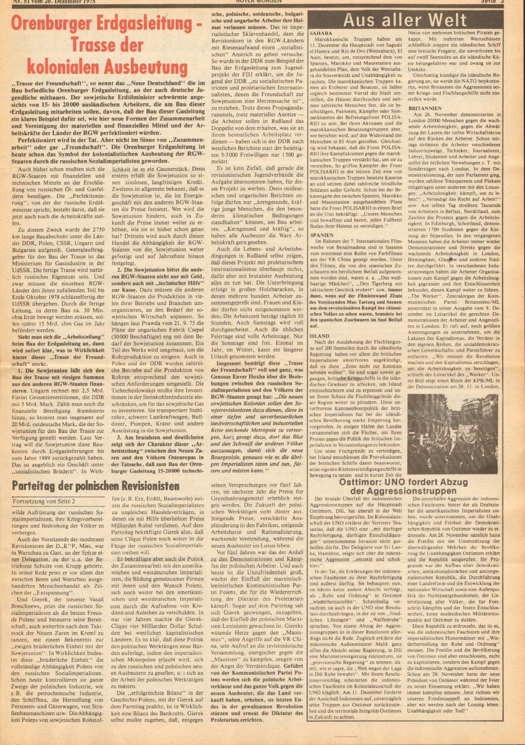 Roter Morgen, 9. Jg., 20. Dezember 1975, Nr. 51, Seite 3