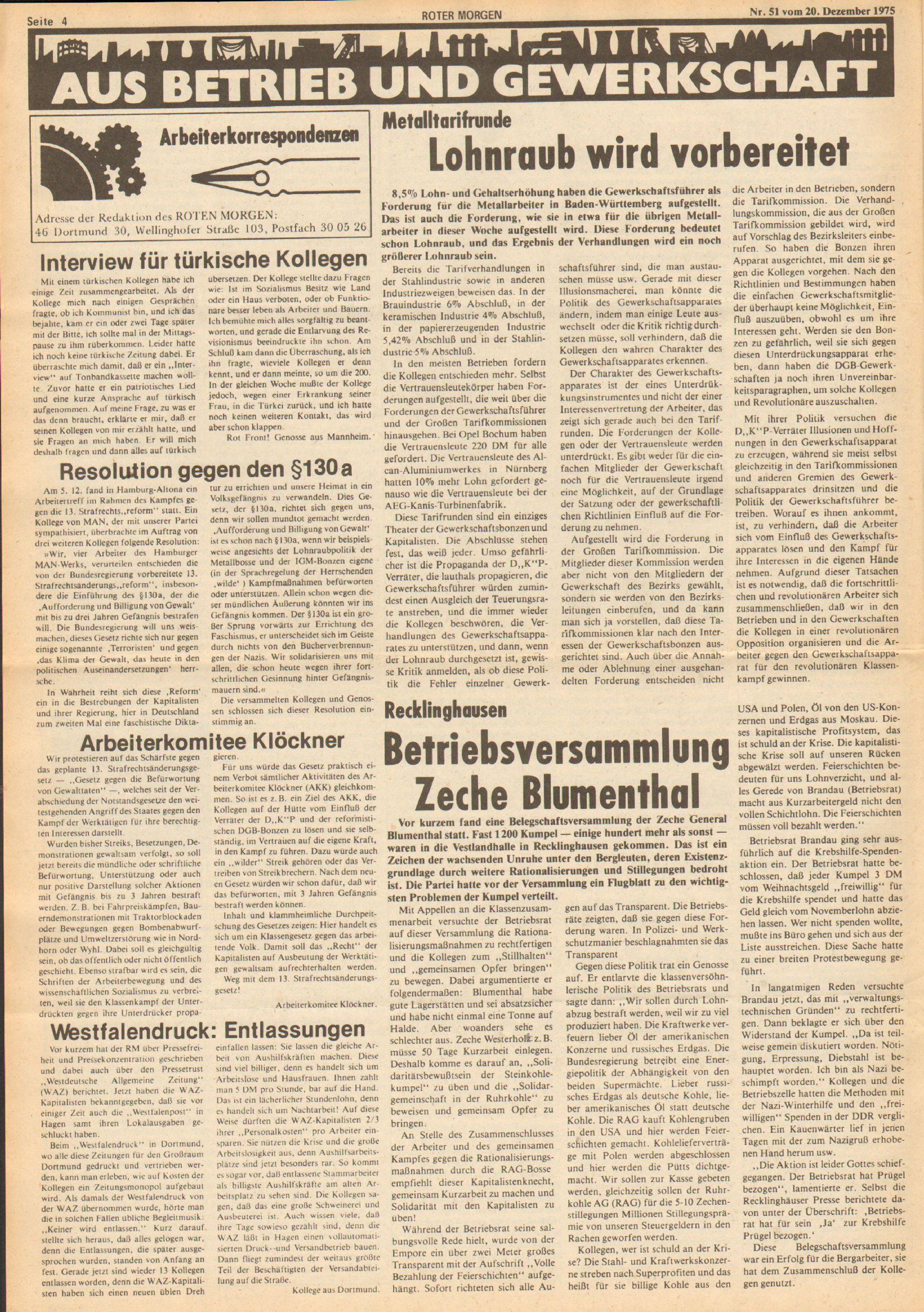 Roter Morgen, 9. Jg., 20. Dezember 1975, Nr. 51, Seite 4