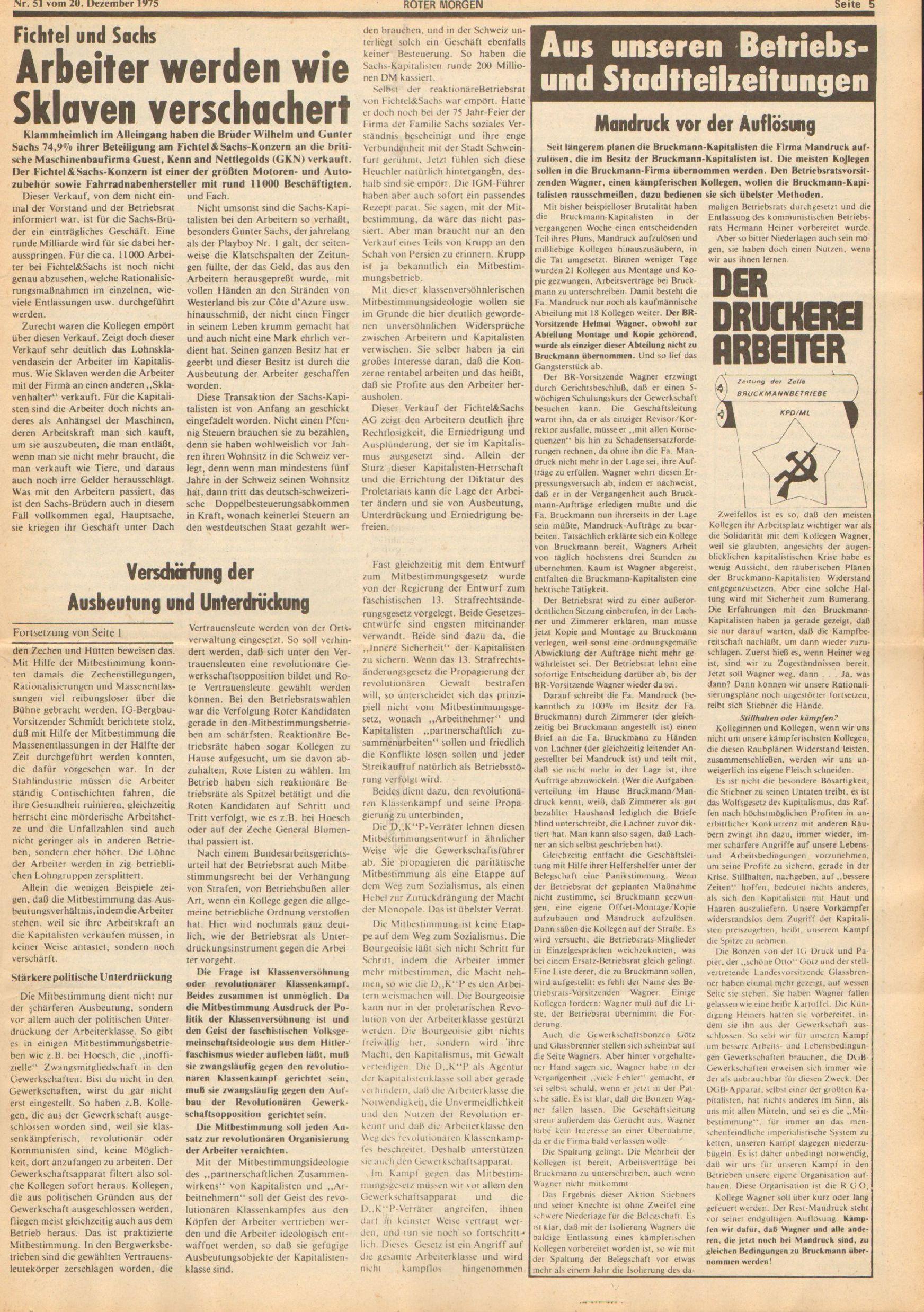 Roter Morgen, 9. Jg., 20. Dezember 1975, Nr. 51, Seite 5