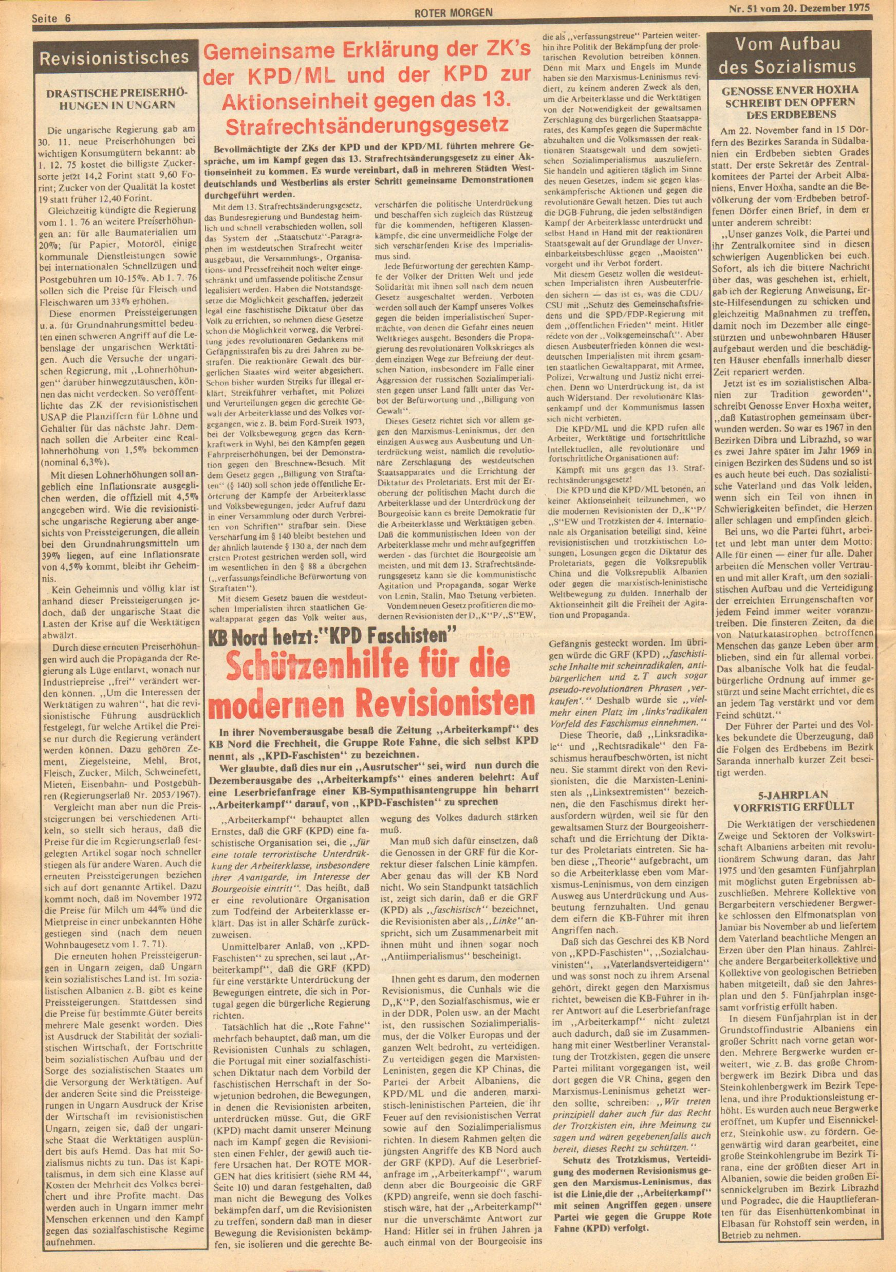 Roter Morgen, 9. Jg., 20. Dezember 1975, Nr. 51, Seite 6