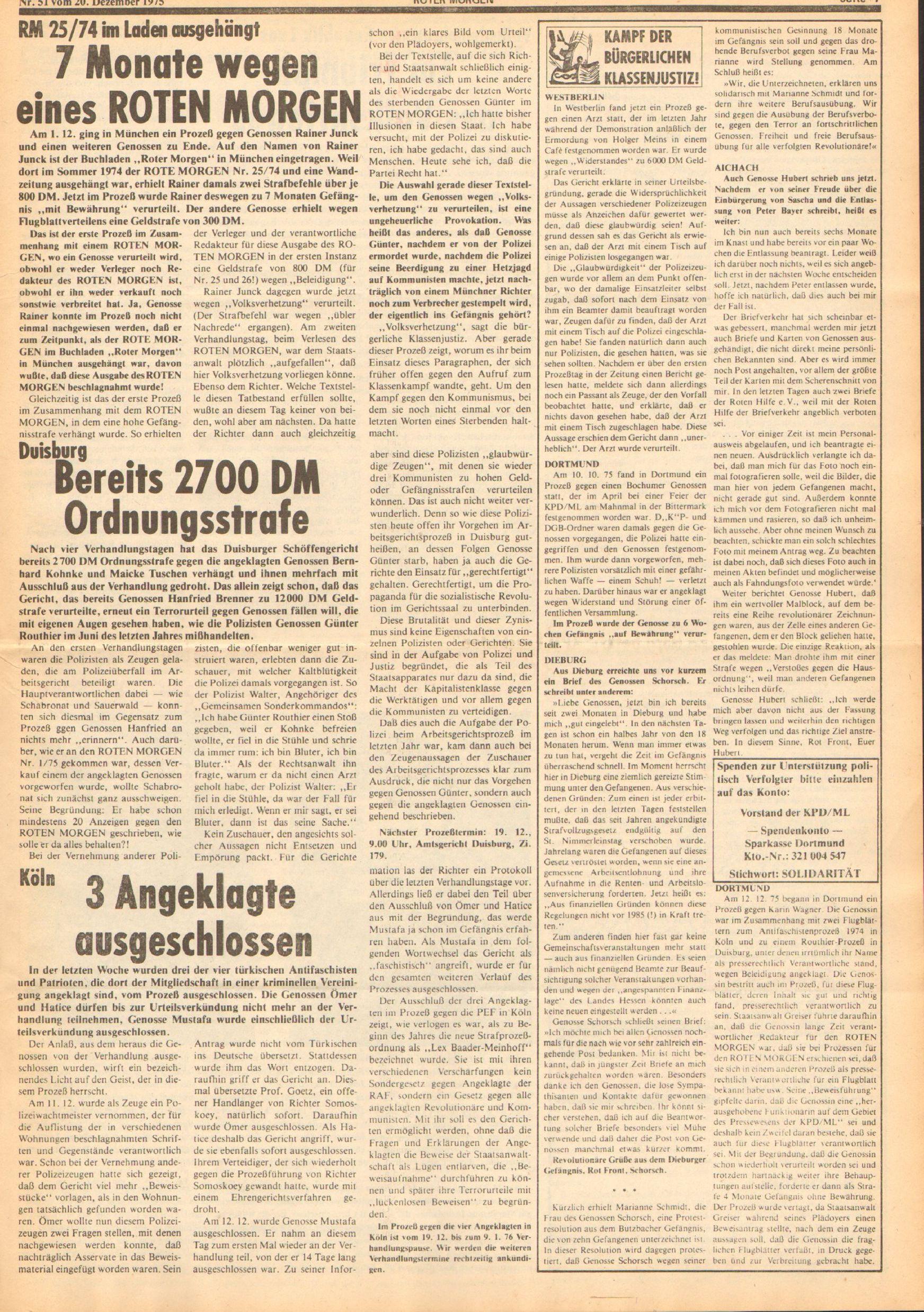 Roter Morgen, 9. Jg., 20. Dezember 1975, Nr. 51, Seite 7