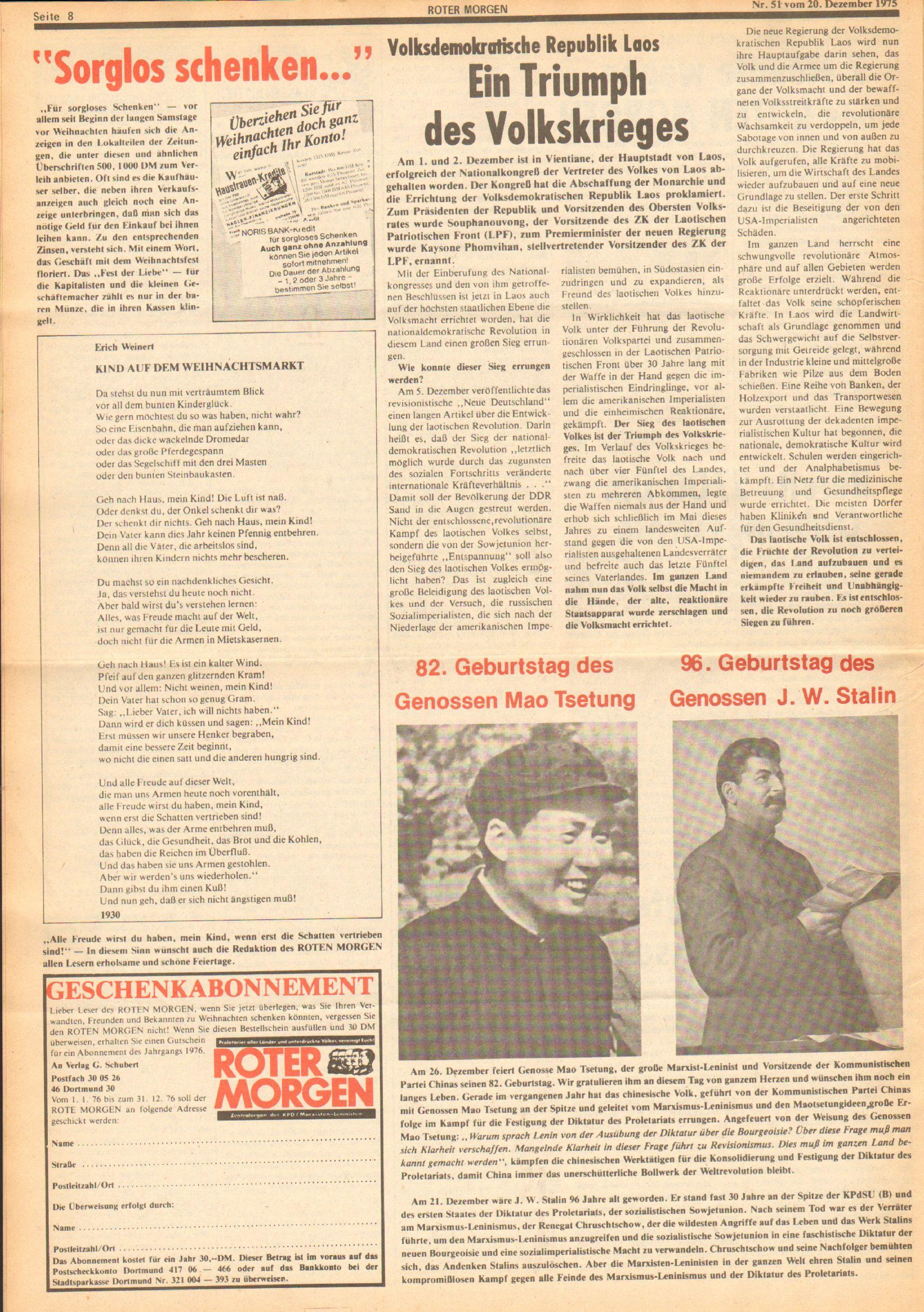 Roter Morgen, 9. Jg., 20. Dezember 1975, Nr. 51, Seite 8