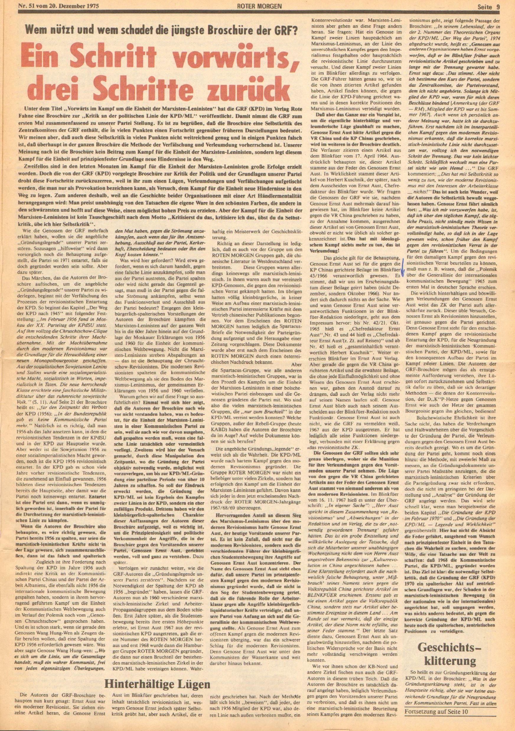 Roter Morgen, 9. Jg., 20. Dezember 1975, Nr. 51, Seite 9