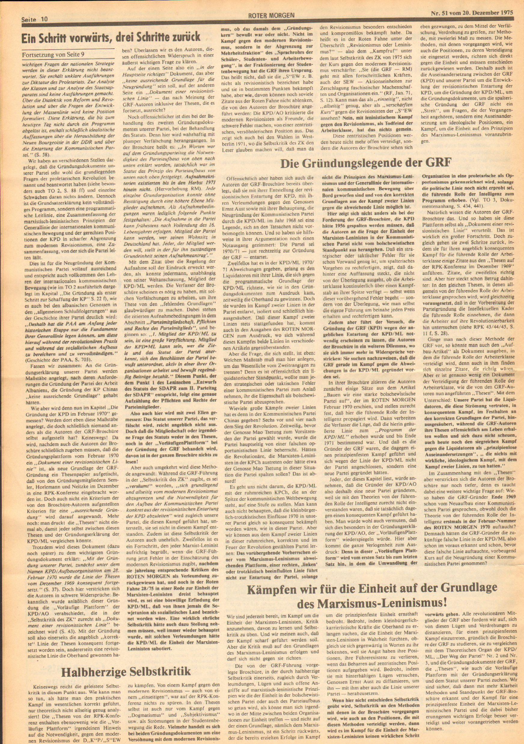 Roter Morgen, 9. Jg., 20. Dezember 1975, Nr. 51, Seite 10