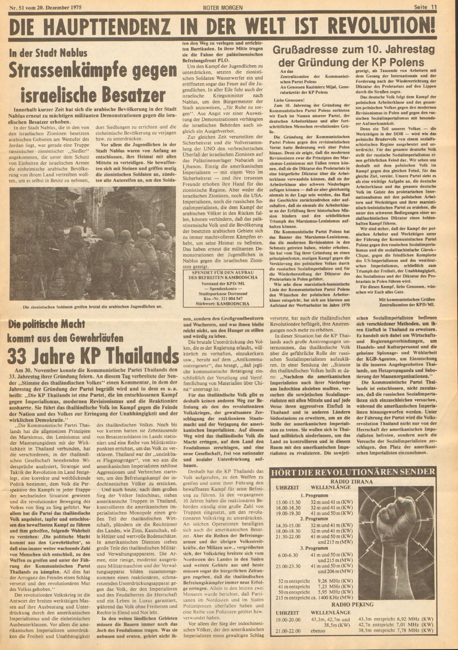 Roter Morgen, 9. Jg., 20. Dezember 1975, Nr. 51, Seite 11