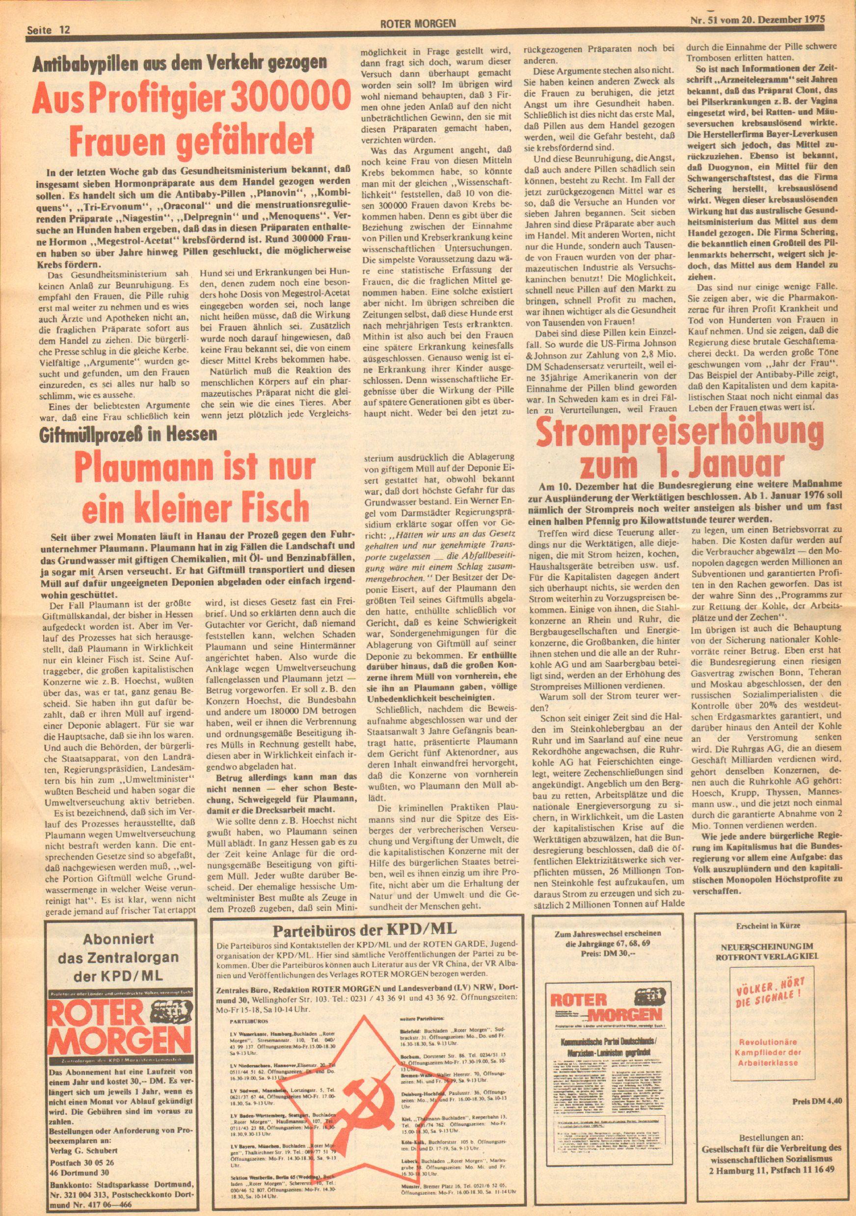 Roter Morgen, 9. Jg., 20. Dezember 1975, Nr. 51, Seite 12
