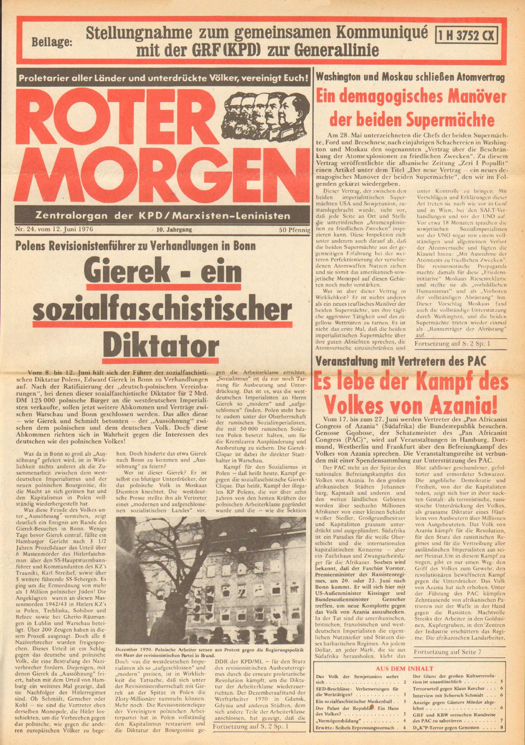 Roter Morgen, 10. Jg., 12. Juni 1976, Nr. 24, Seite 1