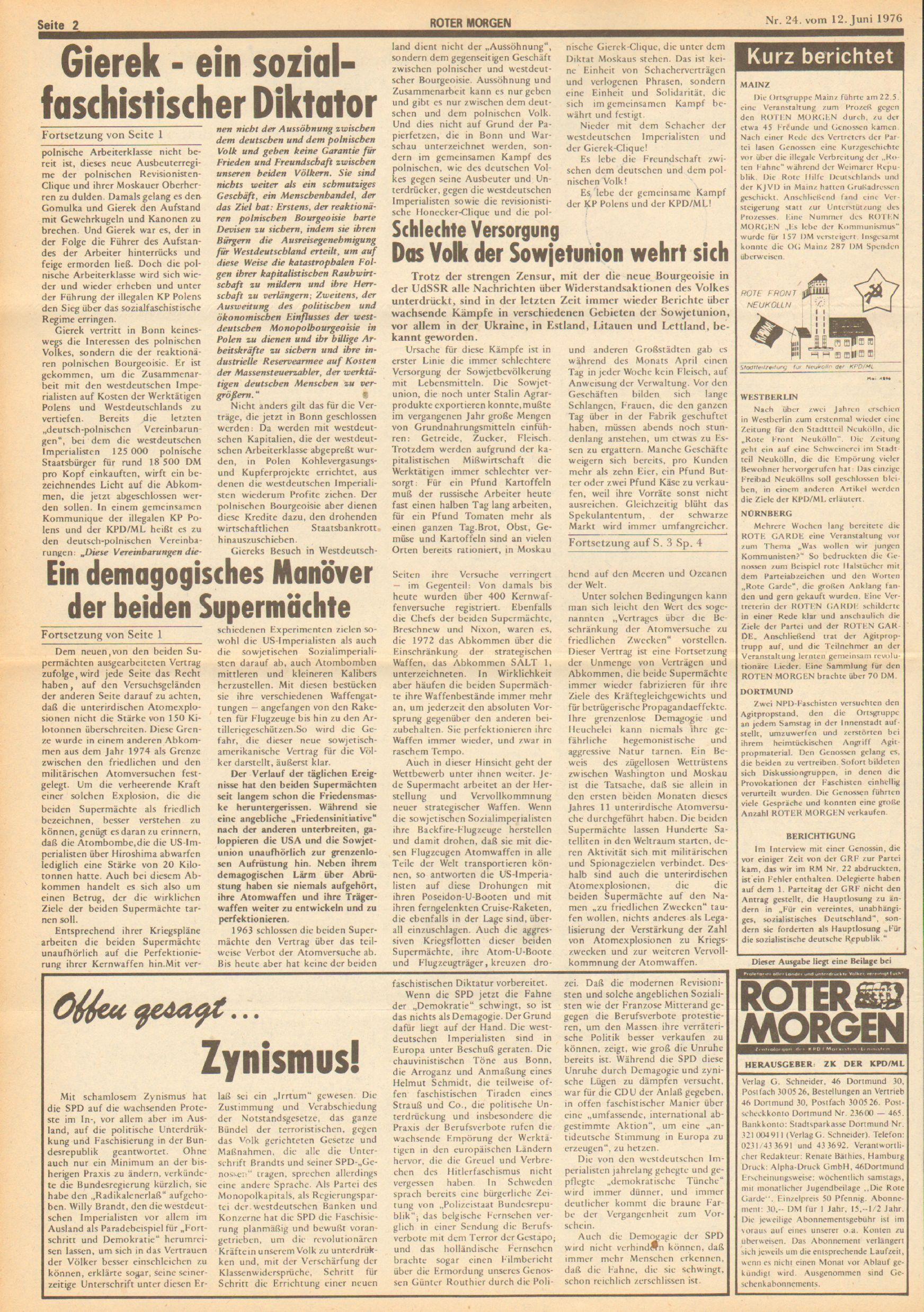 Roter Morgen, 10. Jg., 12. Juni 1976, Nr. 24, Seite 2