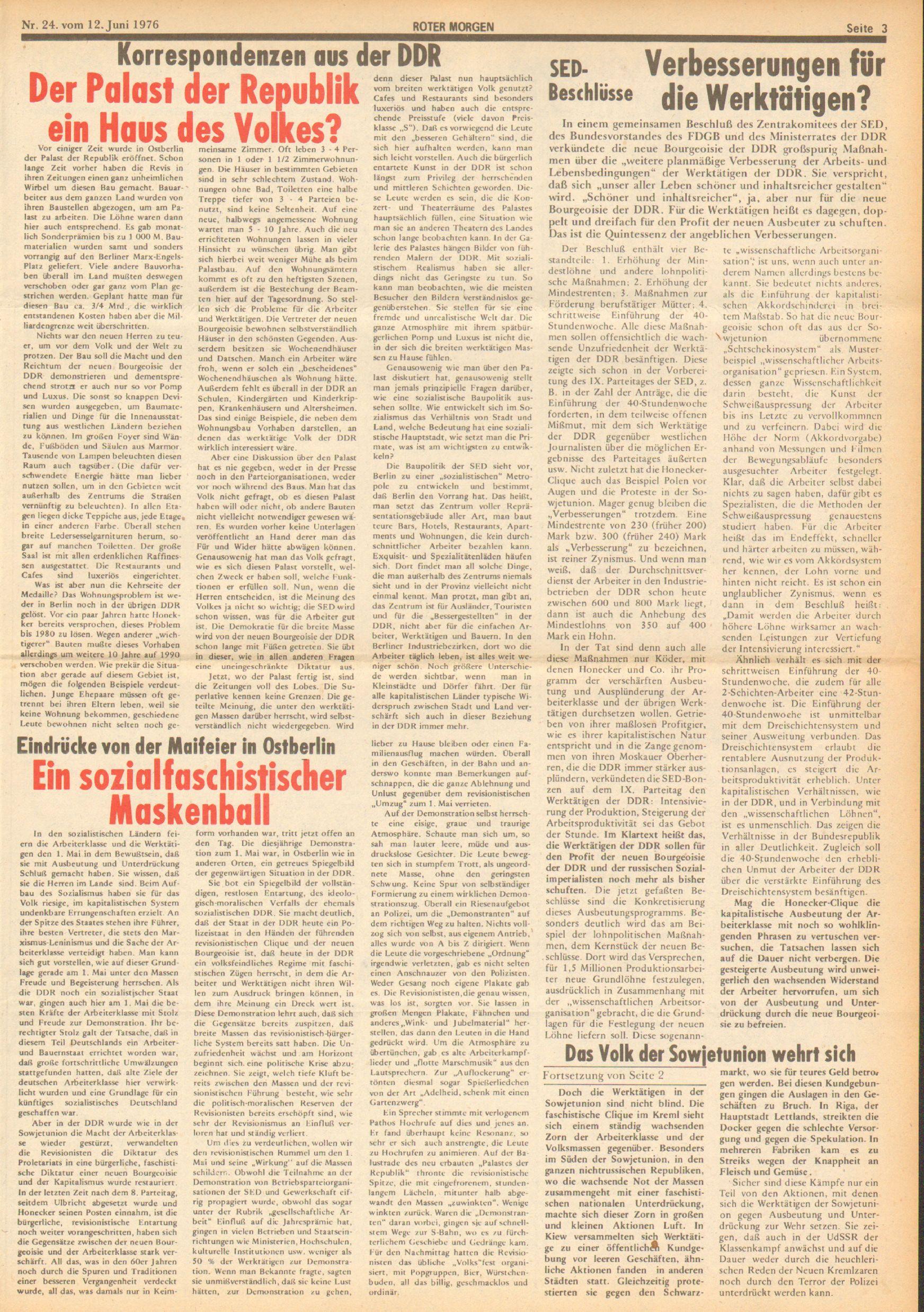 Roter Morgen, 10. Jg., 12. Juni 1976, Nr. 24, Seite 3