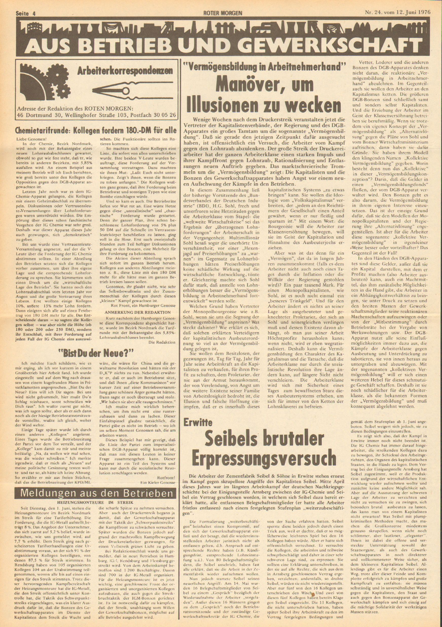 Roter Morgen, 10. Jg., 12. Juni 1976, Nr. 24, Seite 4