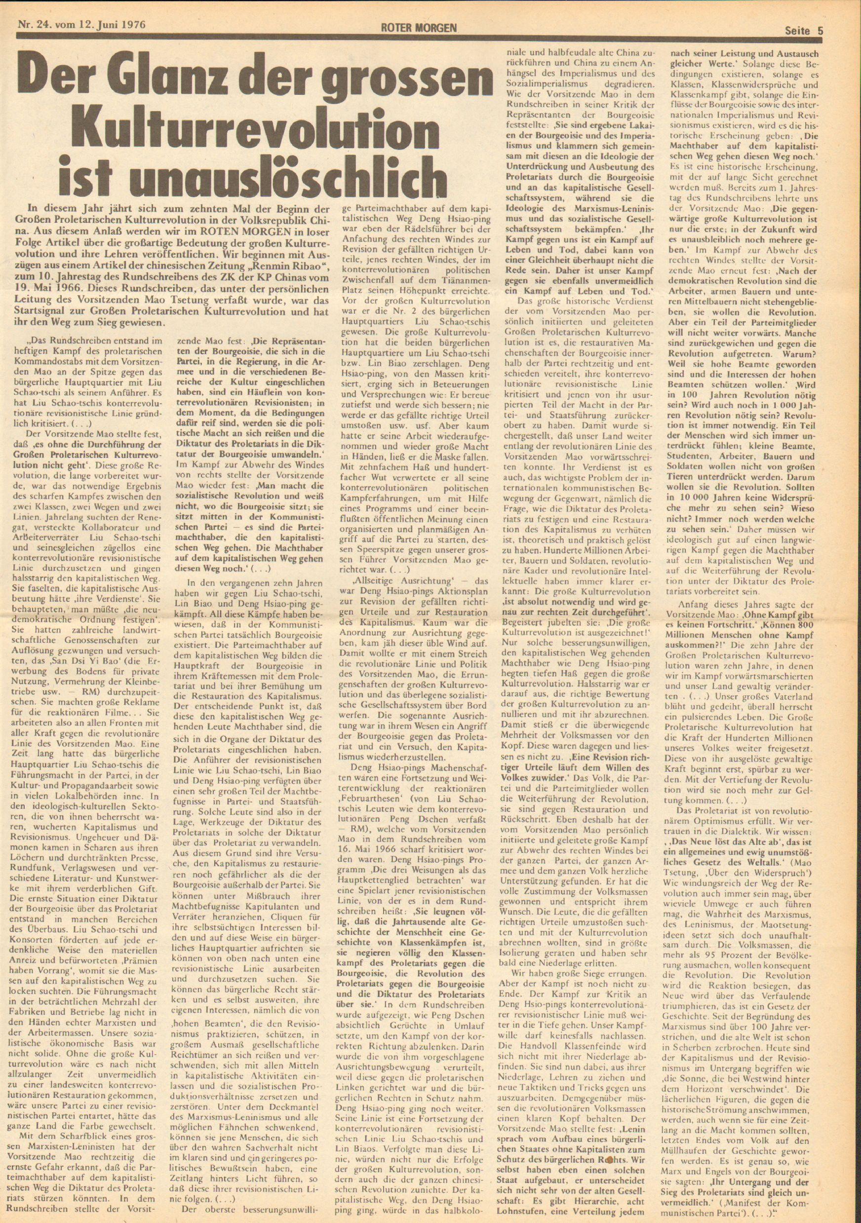 Roter Morgen, 10. Jg., 12. Juni 1976, Nr. 24, Seite 5