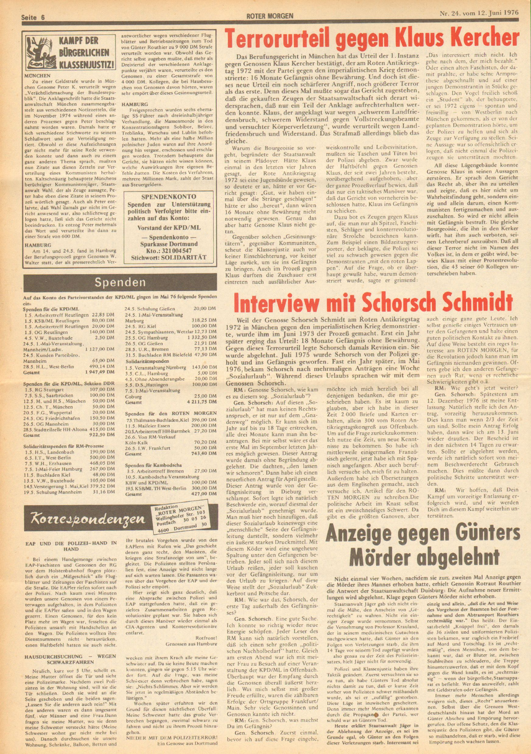Roter Morgen, 10. Jg., 12. Juni 1976, Nr. 24, Seite 6