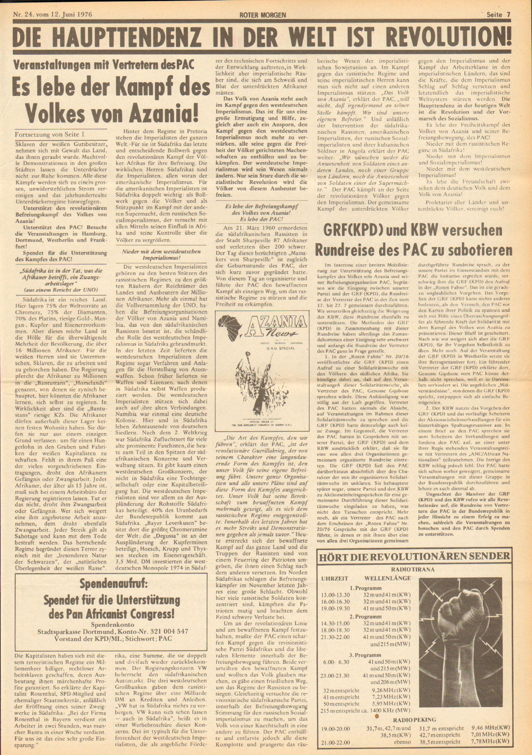 Roter Morgen, 10. Jg., 12. Juni 1976, Nr. 24, Seite 7
