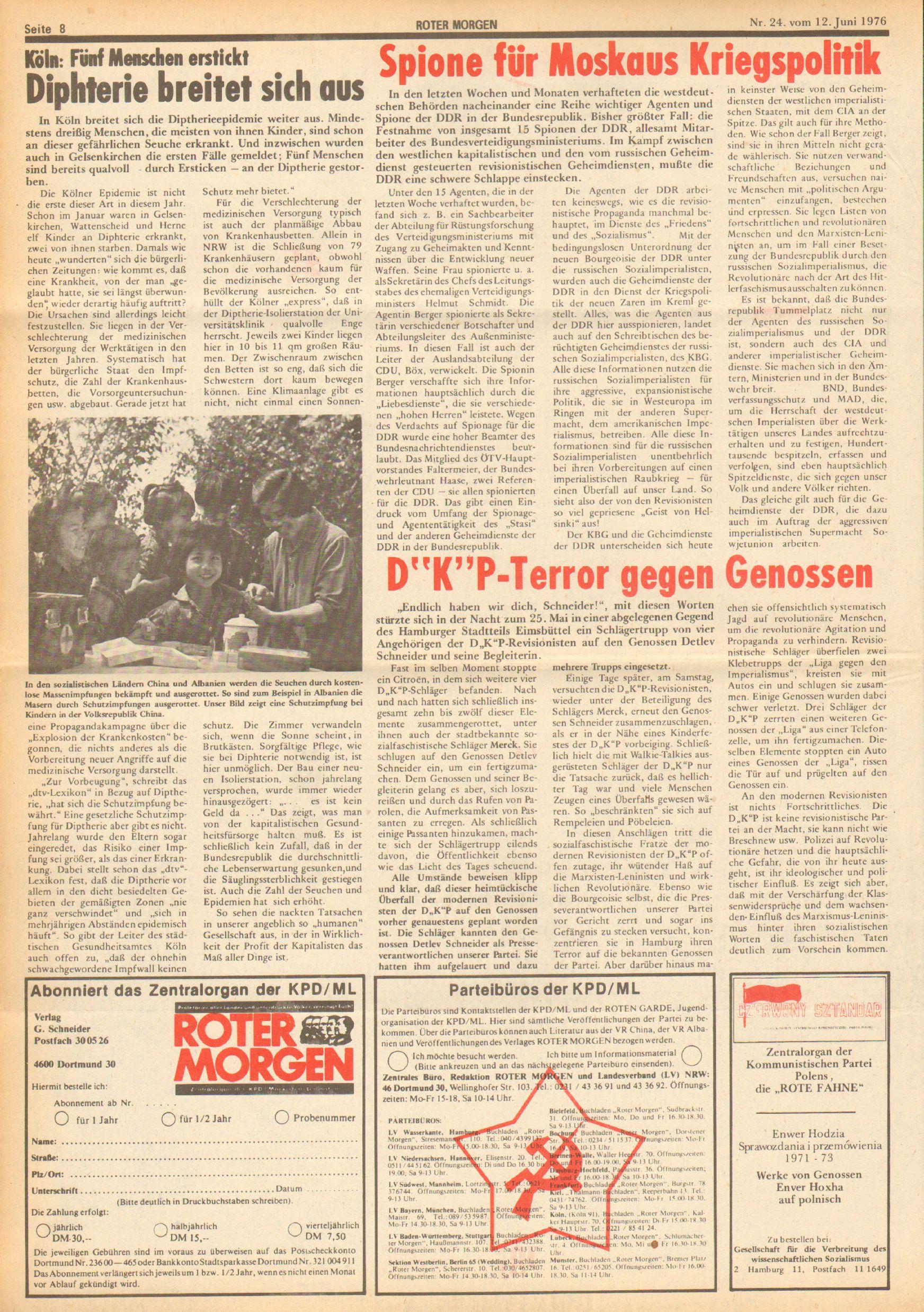 Roter Morgen, 10. Jg., 12. Juni 1976, Nr. 24, Seite 8