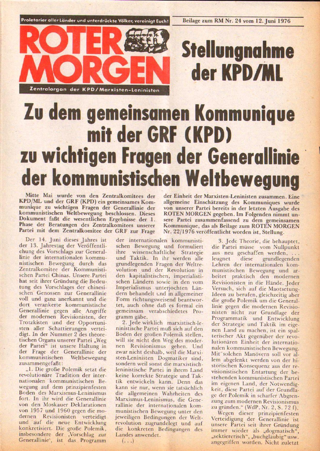Roter Morgen, 10. Jg., 12. Juni 1976, Beilage: Zum Kommumique, Seite 1