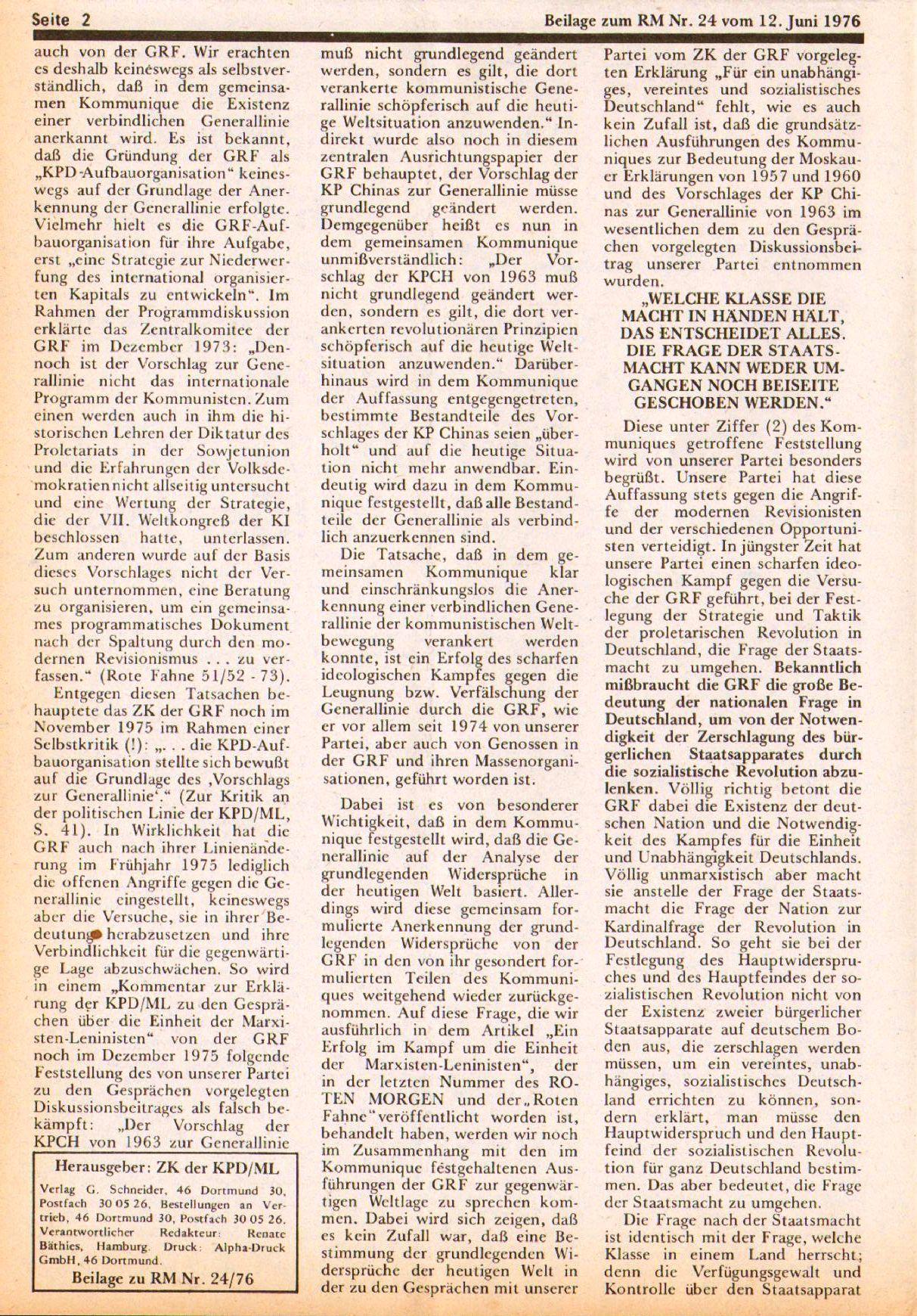 Roter Morgen, 10. Jg., 12. Juni 1976, Beilage: Zum Kommumique, Seite 2