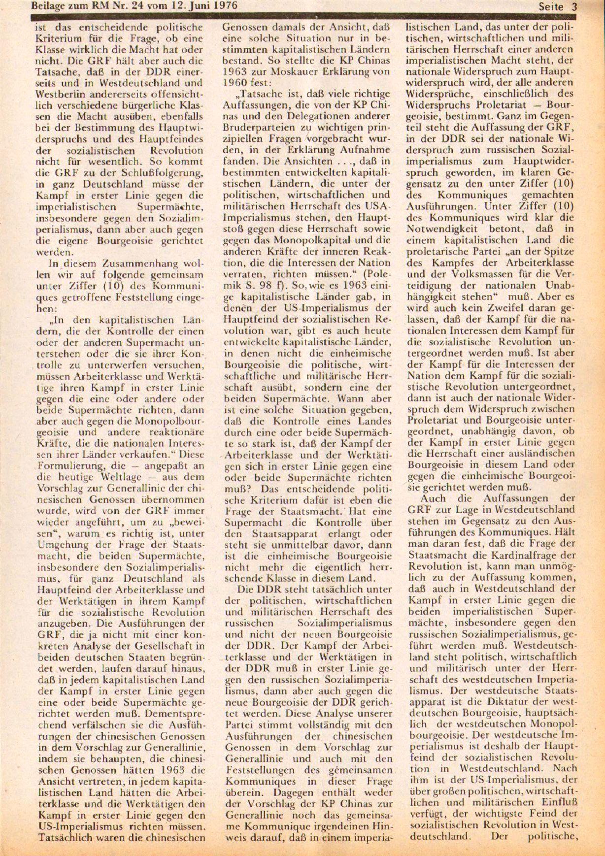 Roter Morgen, 10. Jg., 12. Juni 1976, Beilage: Zum Kommumique, Seite 3