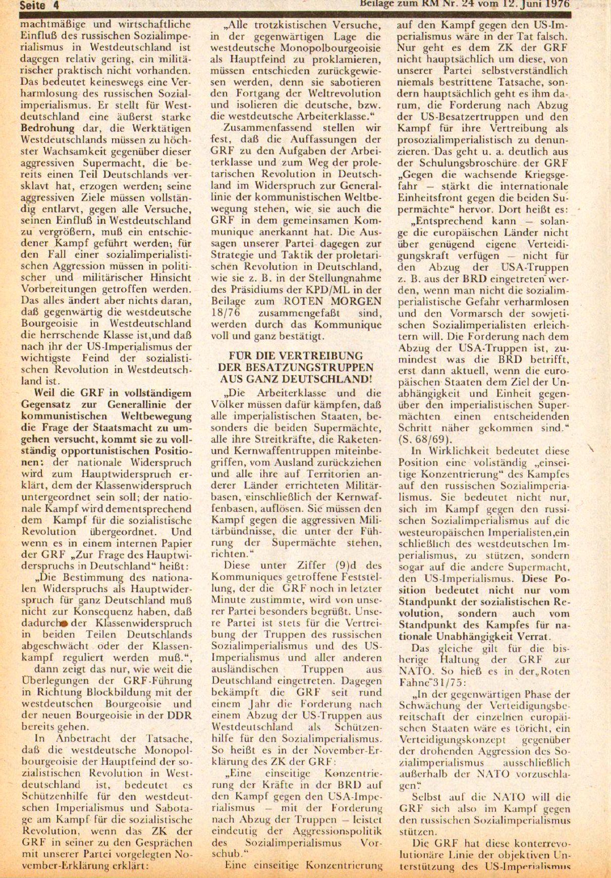 Roter Morgen, 10. Jg., 12. Juni 1976, Beilage: Zum Kommumique, Seite 4